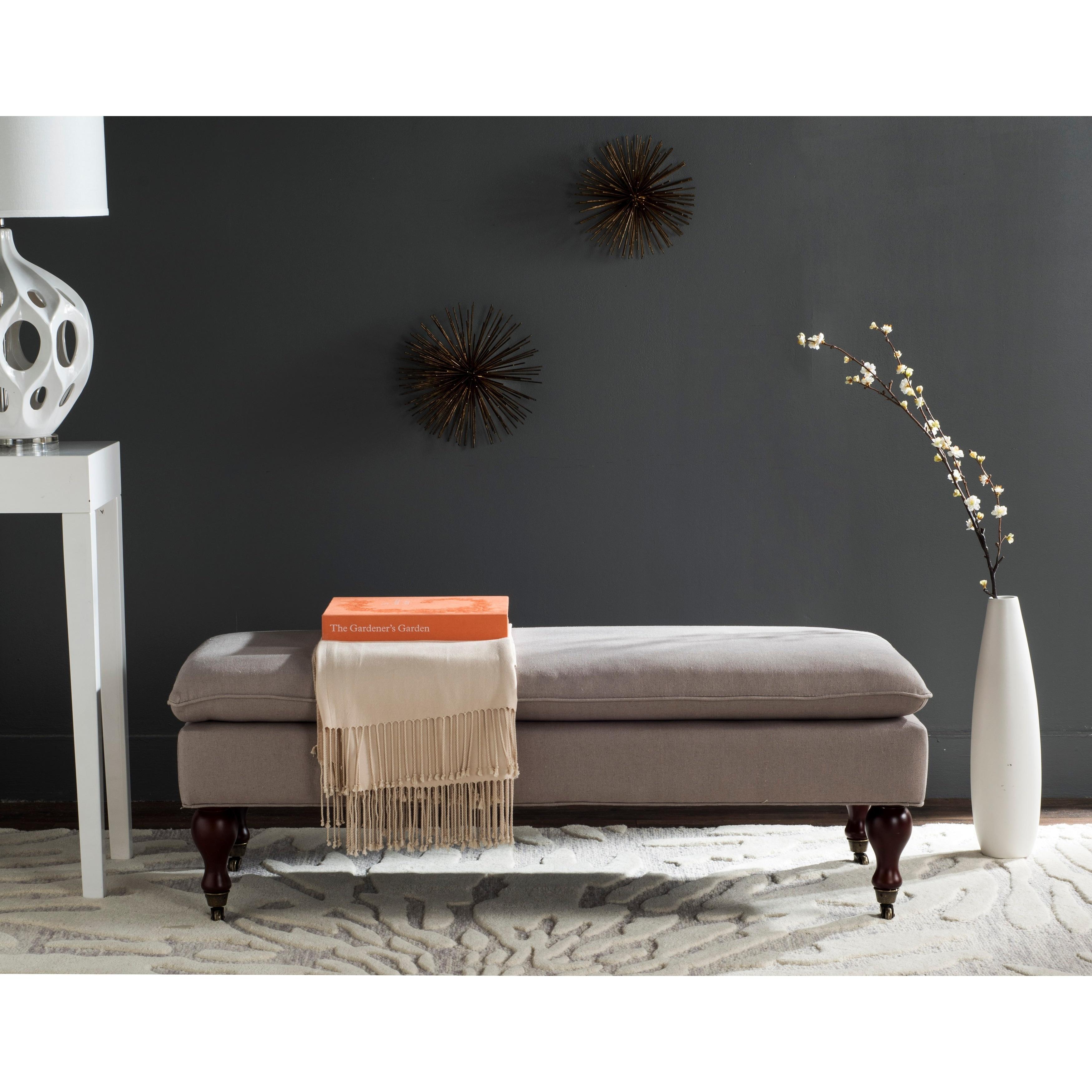 Shop Safavieh Mansfield Linen Pillowtop Ottoman - On Sale - Free ...