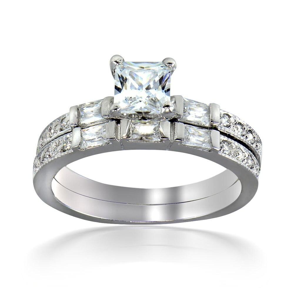 Shop Icz Stonez Sterling Silver Square Cut Cubic Zirconia Bridal