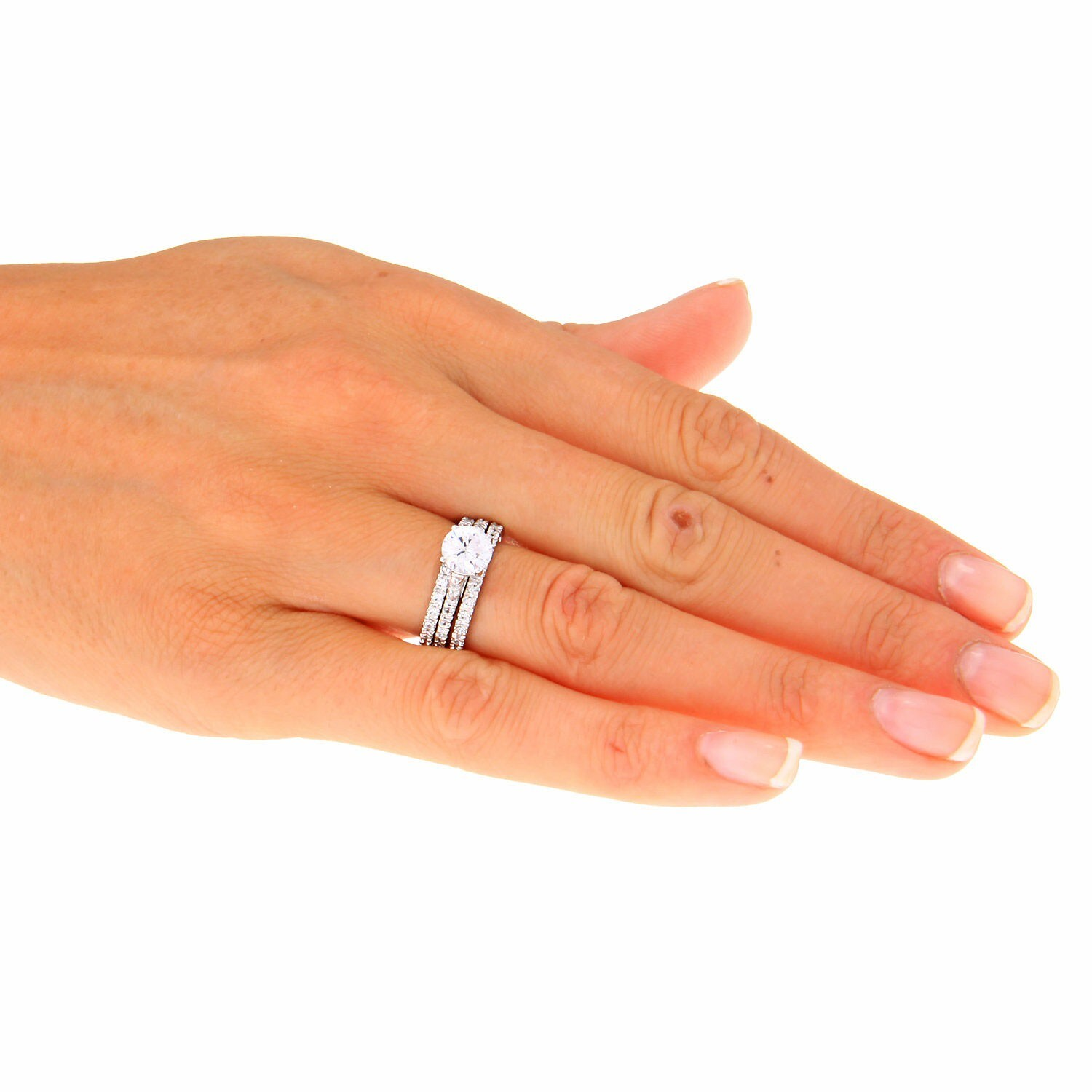 Shop Icz Stonez Sterling Silver Prong Set Cubic Zirconia Bridal Ring