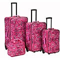 Rockland Deluxe Pink Bandana Expandable 4-piece Expandable Luggage Set