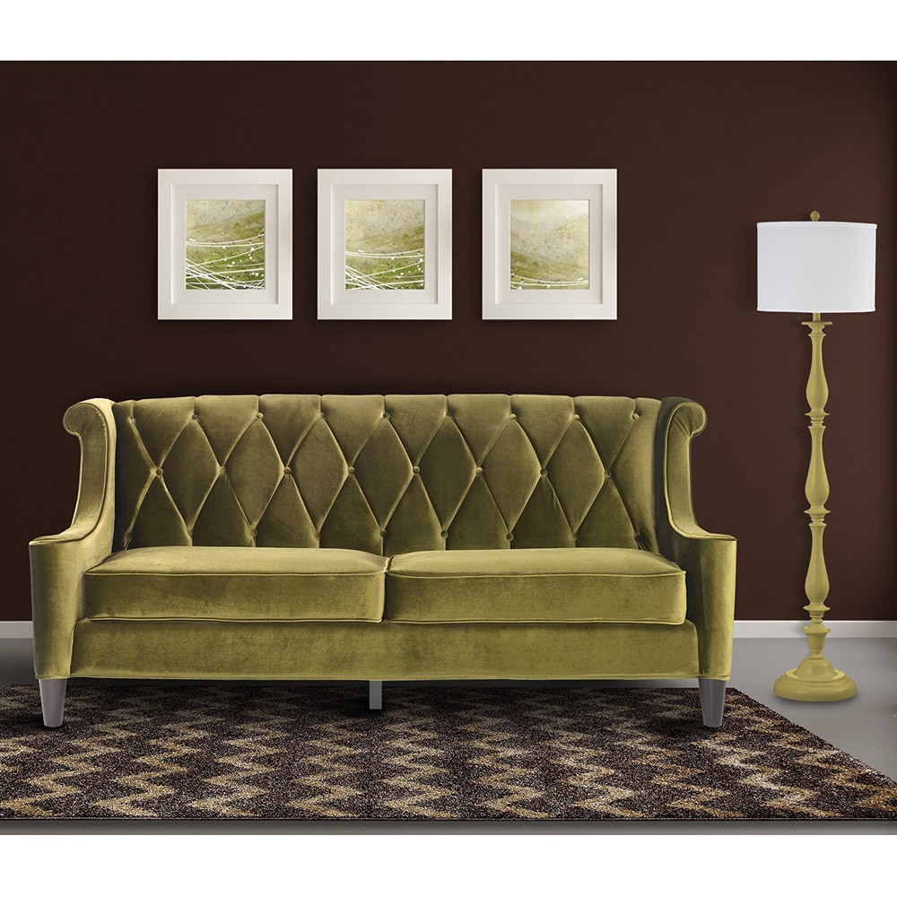 Armen Living Barrister Modern Green Velvet Sofa   Free Shipping Today    Overstock.com   13096013