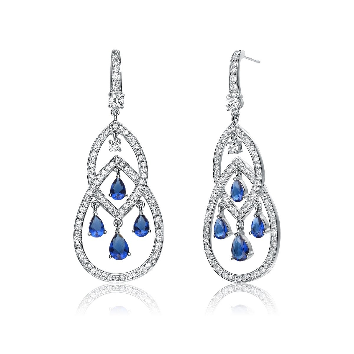 b4952cb3ae9c Collette Z Sterling Silver with Rhodium Plated Sapphire Blue Pear with  Clear Round Cubic Zirconia Two Pear Chandelier Earrings