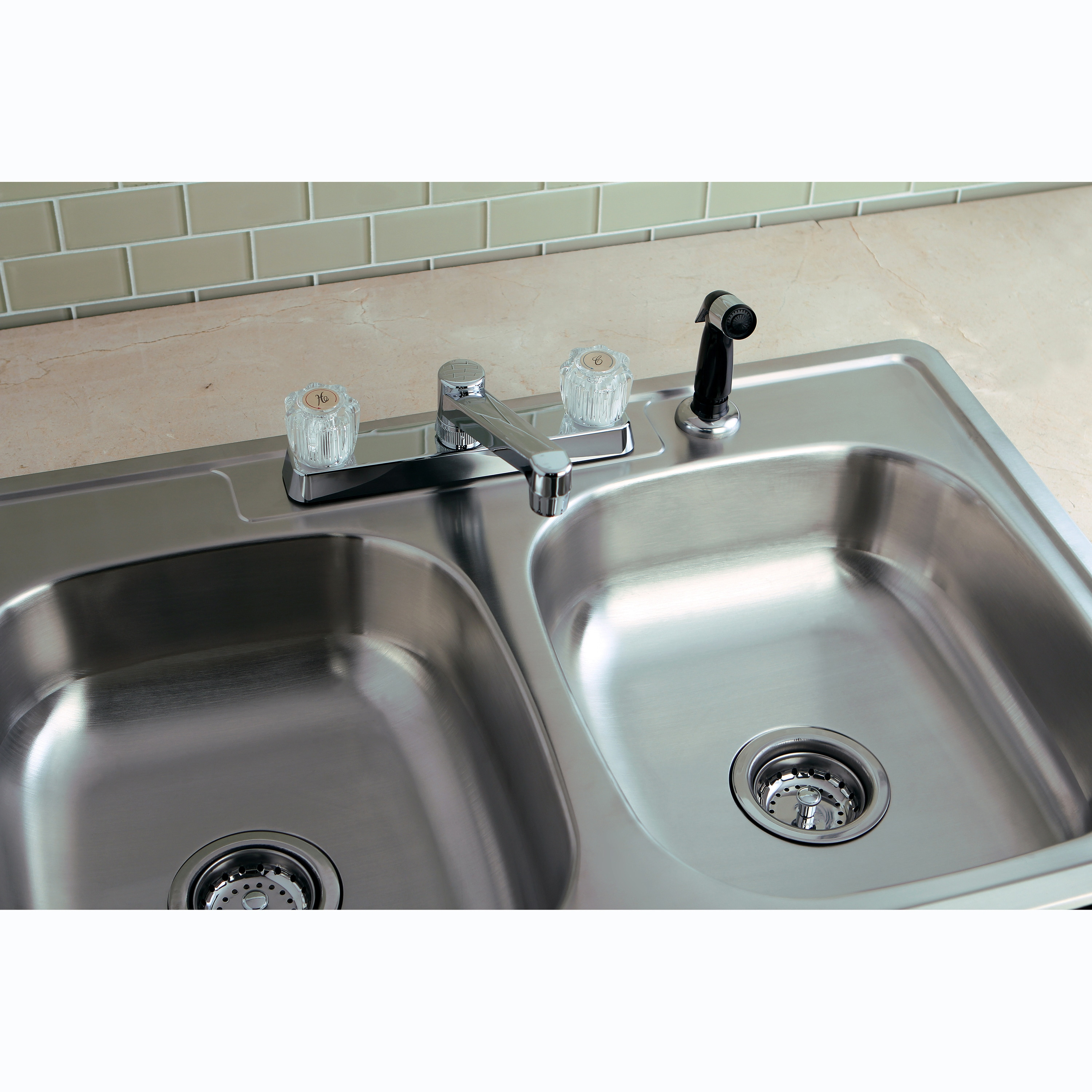Stainless Steel Topmount Double-bowl Kitchen Sink and Acrylic Handle ...