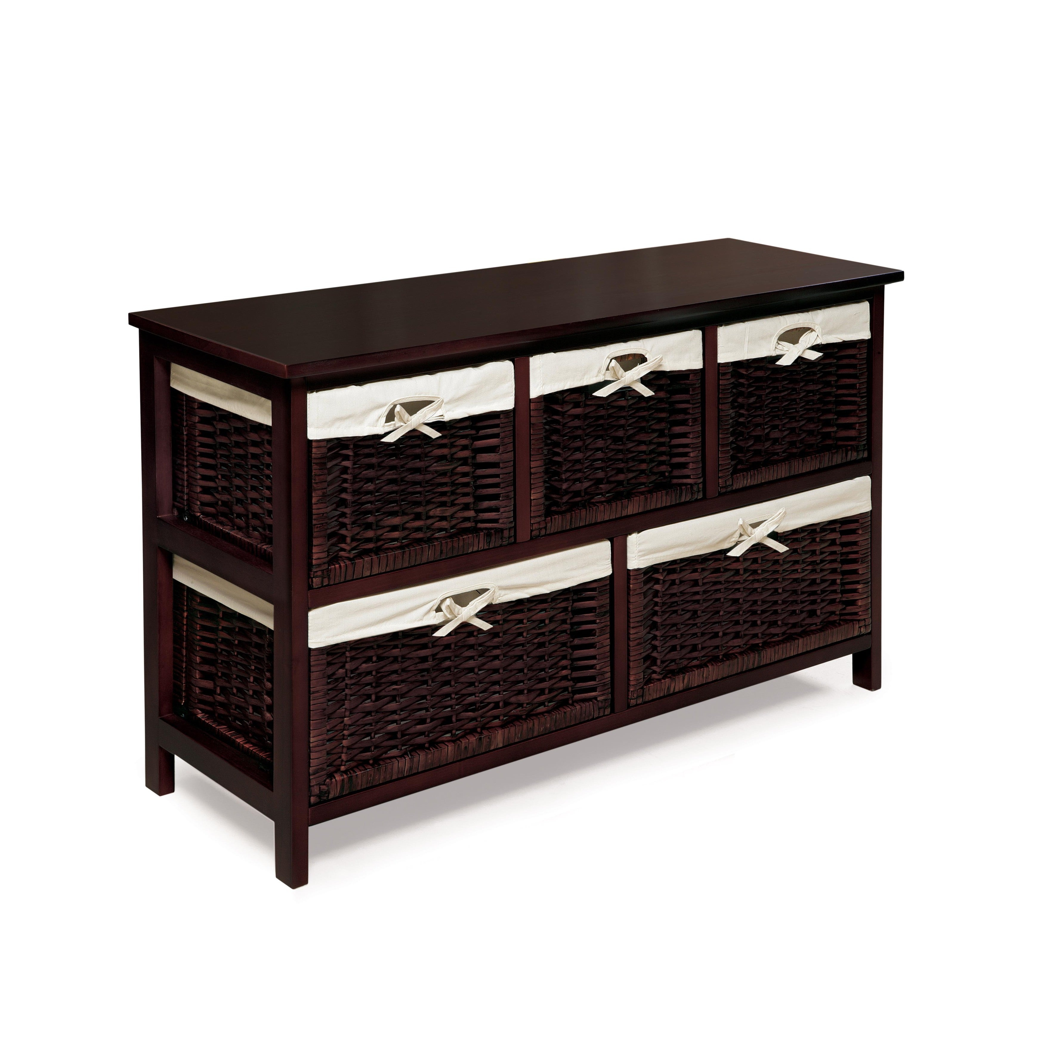 shop espresso wooden storage cabinet with wicker baskets free rh overstock com Storage Shelves with Baskets Storage Unit with Wicker Baskets