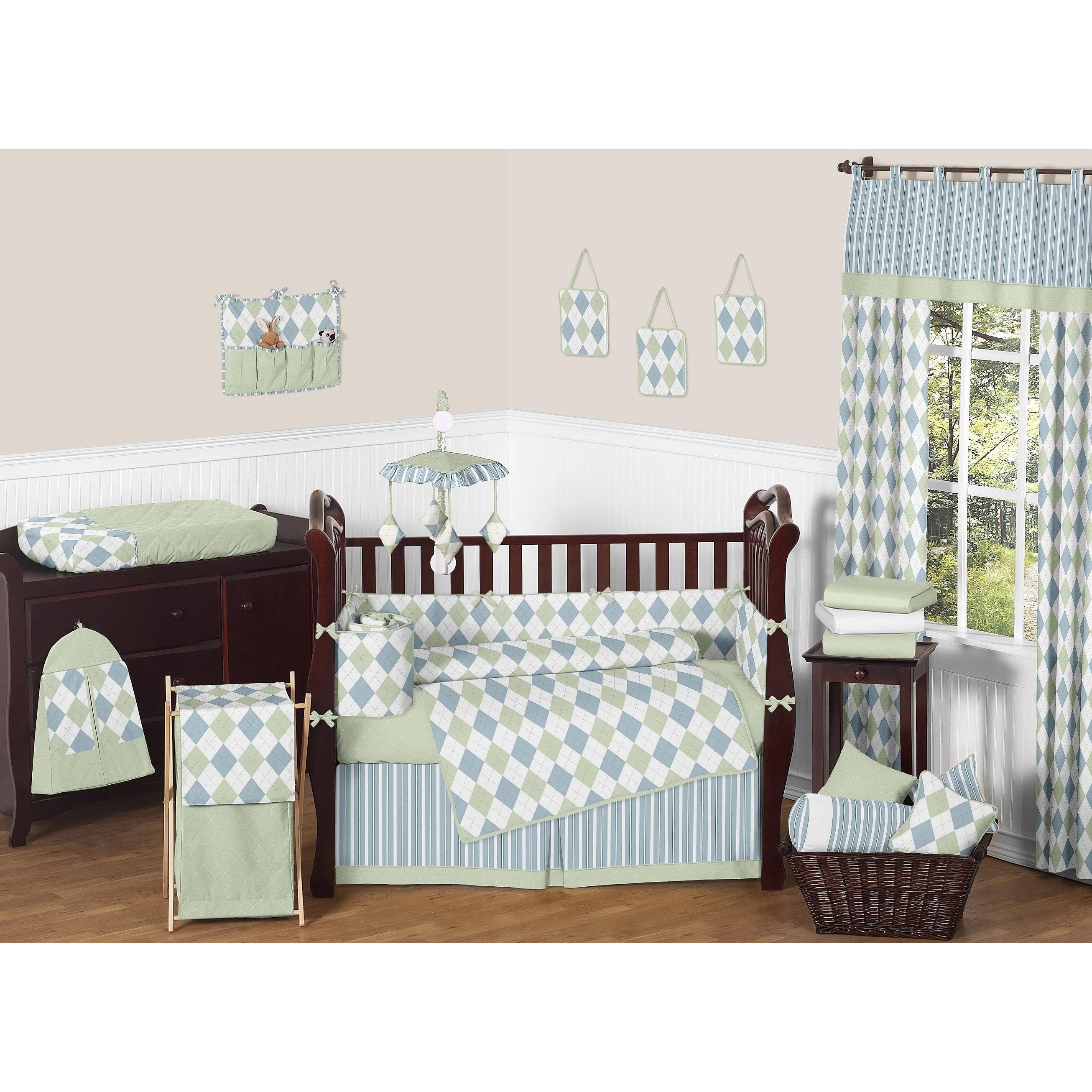 Sweet Jojo Designs Blue And Green Argyle 9 Piece Crib Bedding Set Free Shipping Today 5298423