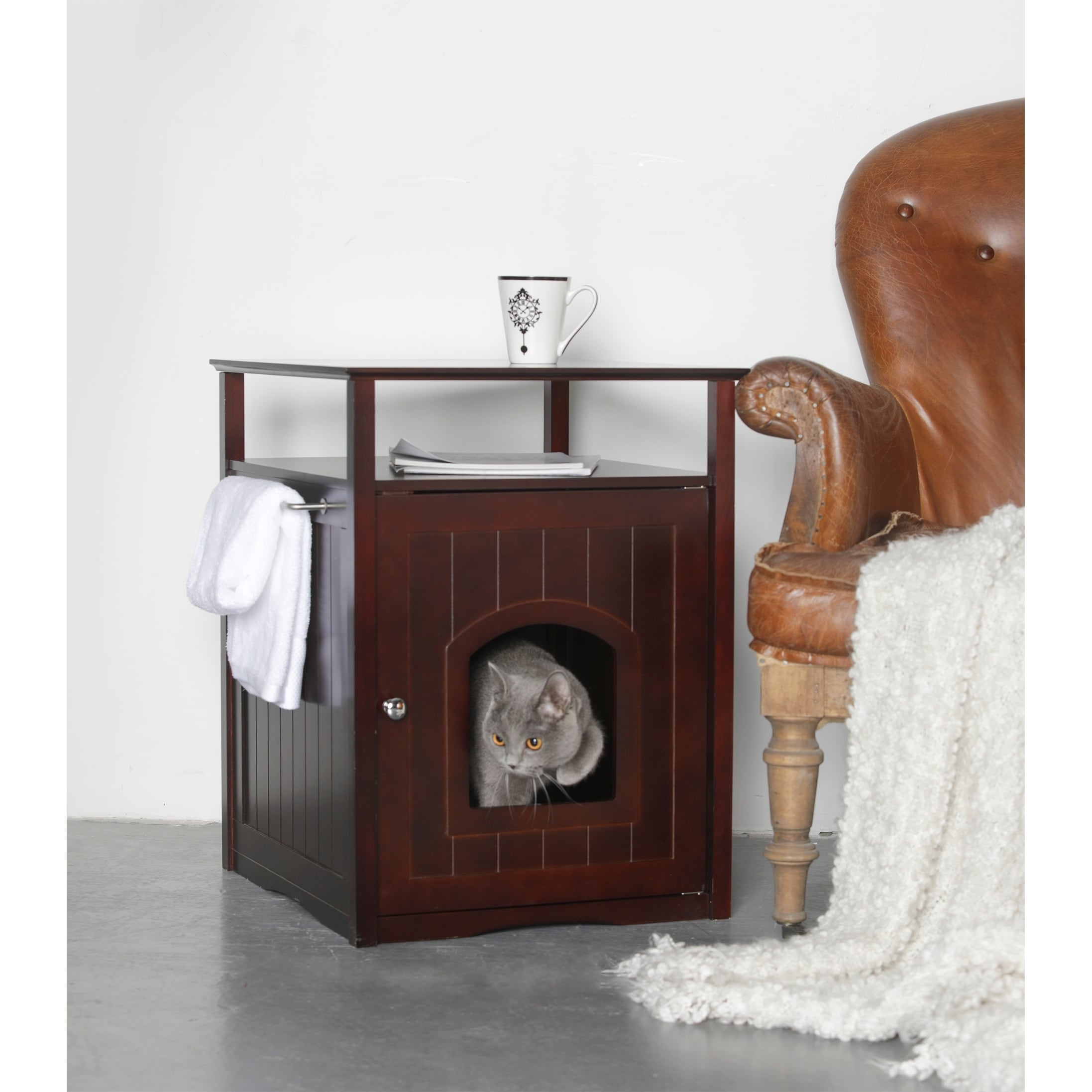 hidden cat box furniture. Merry Products Kitty Espresso Comfort Room Hidden Litter Cat Box Furniture - Free Shipping Today Overstock.com 13110956