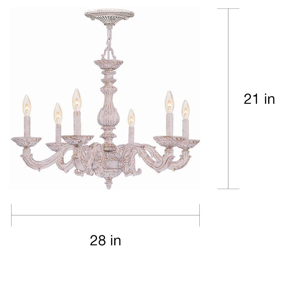 Crystorama Sutton 6-light Antique White Chandelier - Free Shipping Today -  Overstock.com - 13115879 - Crystorama Sutton 6-light Antique White Chandelier - Free Shipping