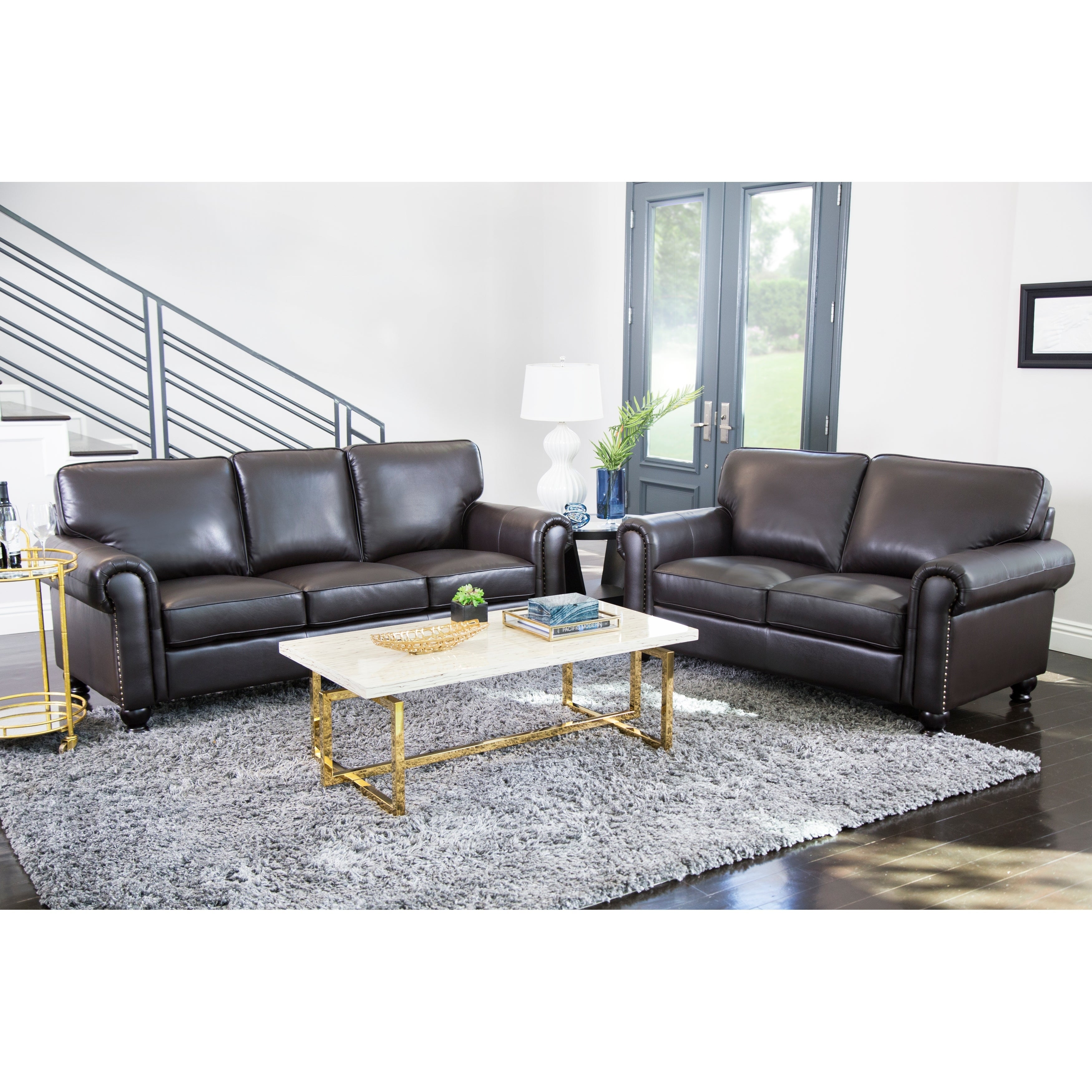 Abbyson London Top Grain Leather 2 Piece Living Room Set - Free ...
