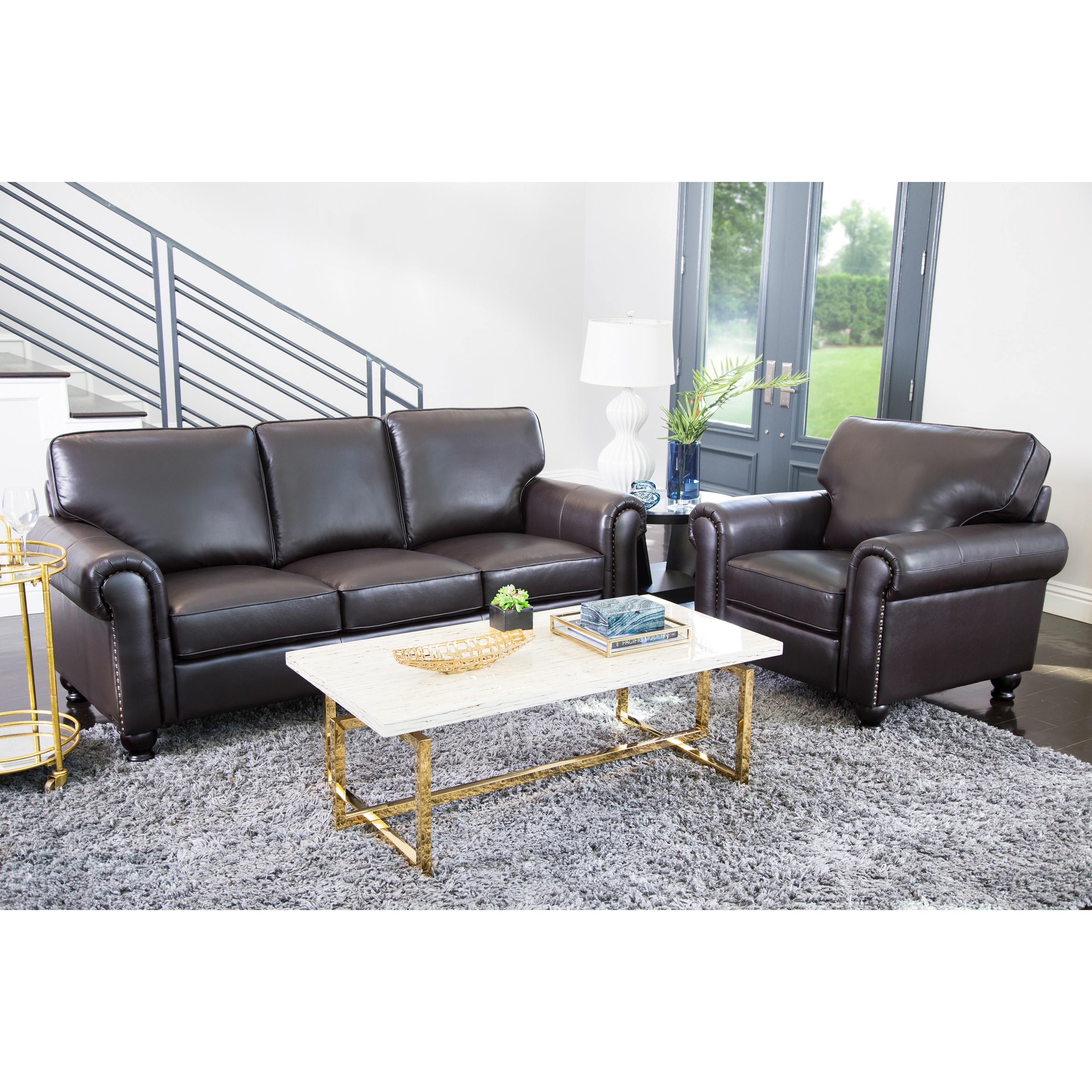 Superieur Abbyson London Top Grain Leather 2 Piece Living Room Set   Free Shipping  Today   Overstock.com   13118846