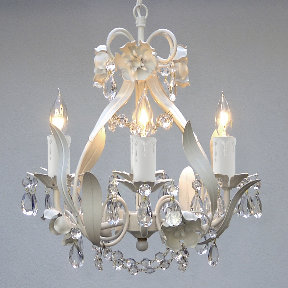 Gallery mini 4 light white floral crystal chandelier free gallery mini 4 light white floral crystal chandelier free shipping today overstock 13123580 arubaitofo Images