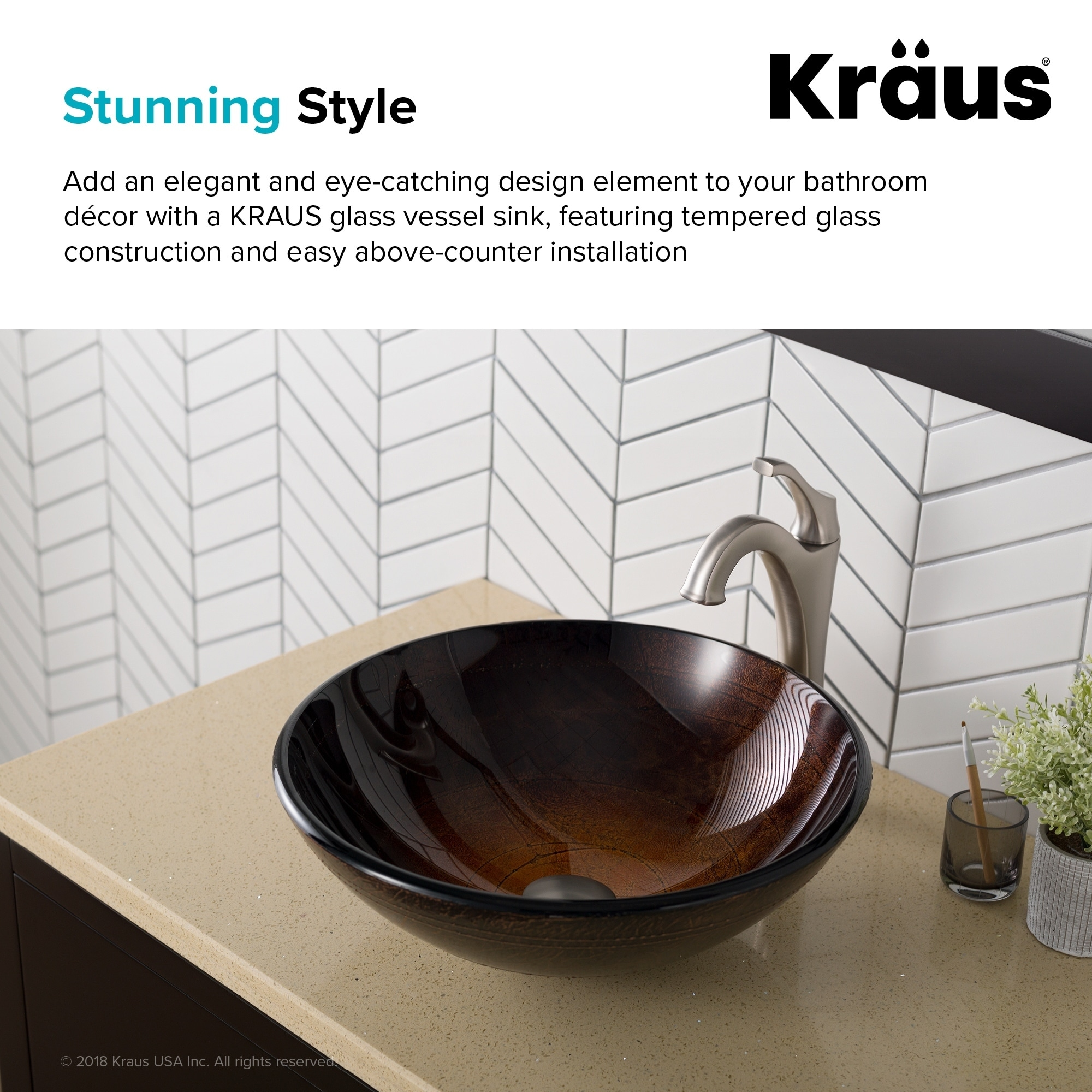 Shop Kraus Gv 580 Copper Illusion 16 1 2 Inch Round Glass Vessel