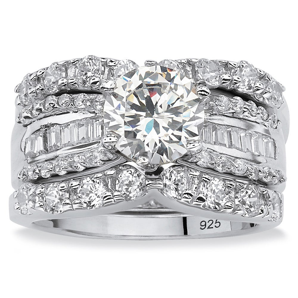 Etonnant Platinum Over Silver Round Cubic Zirconia 3 Piece Bridal Set   Free  Shipping Today   Overstock.com   13125753