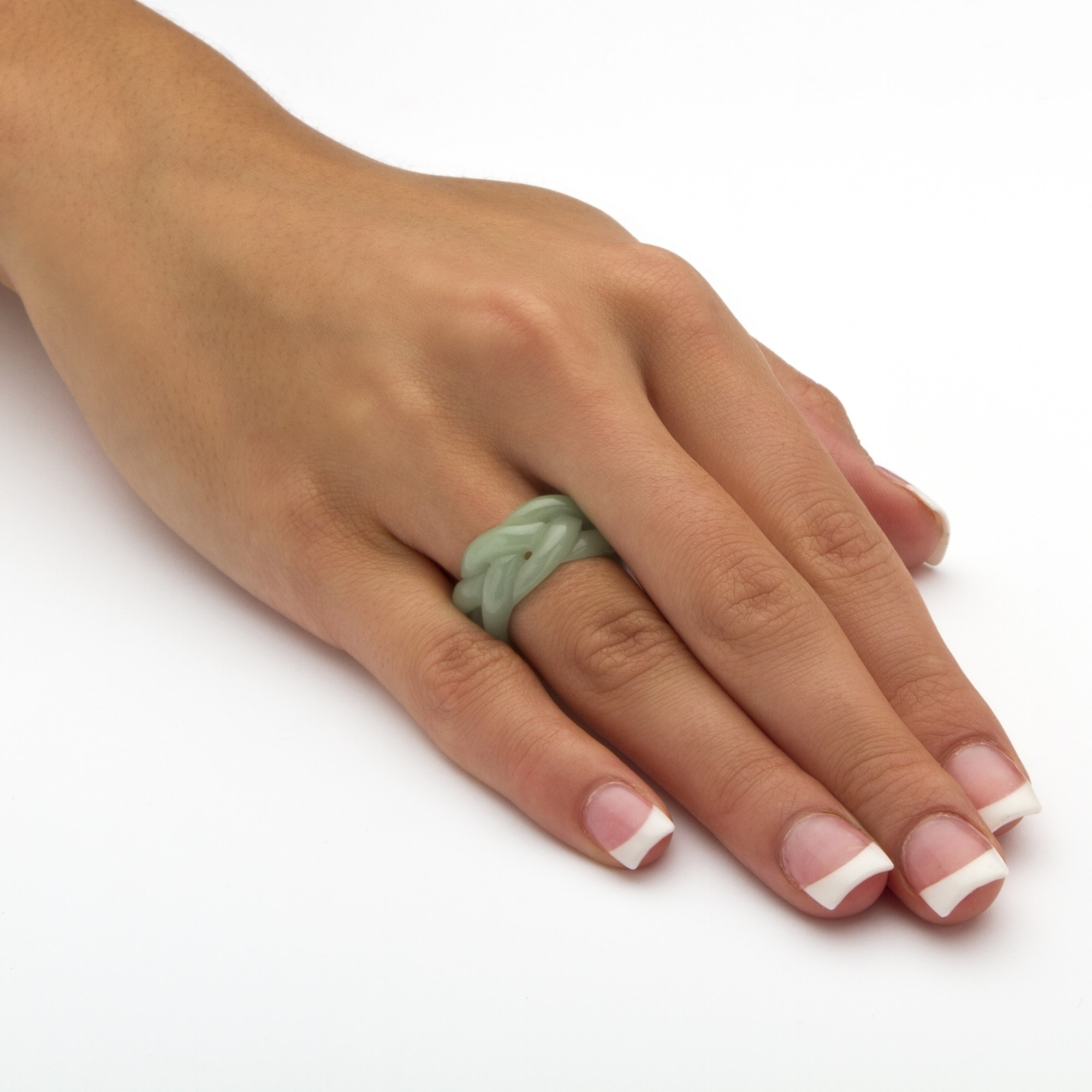 Shop Genuine Green Jade Braided Eternity Ring - Free Shipping Today ...