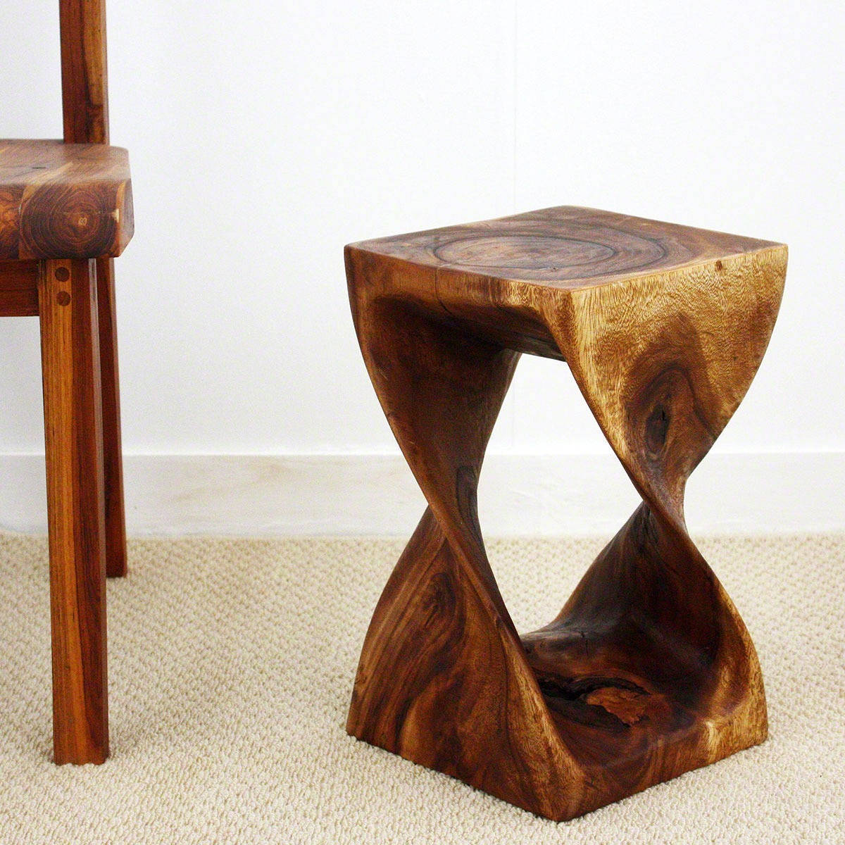 Handmade 10 Inches Square X 16 Inch Monkey Pod Wood Walnut Oil Finished Twist Stool Thailand On Free Shipping Today