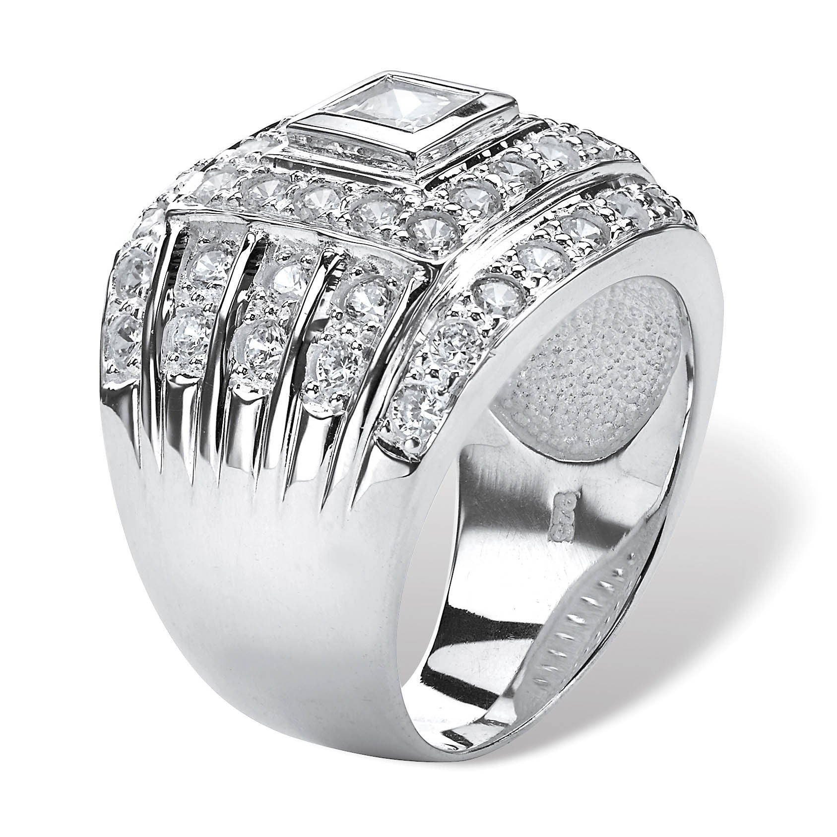 Men's 2 89 TCW Square-Cut Cubic Zirconia Ring in  925 Sterling Silver