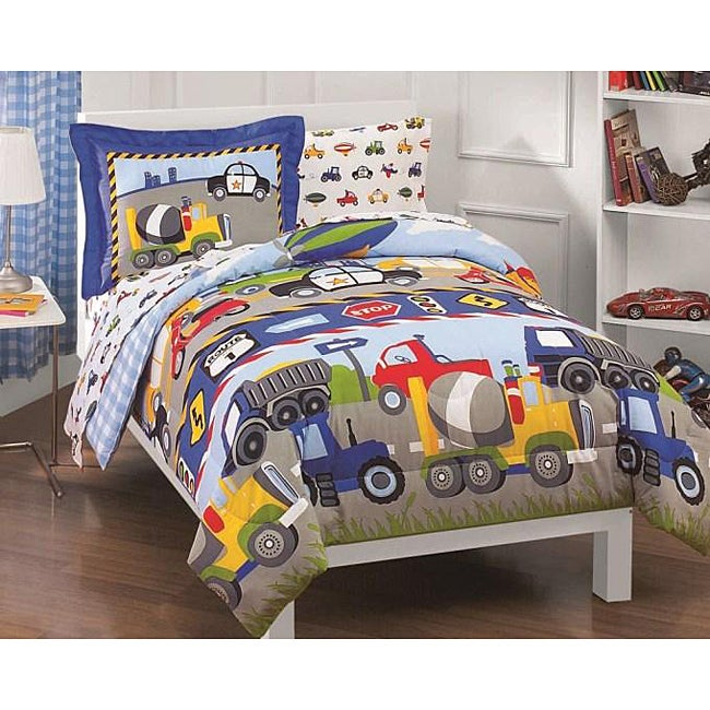 Shop Dream Factory Trucks And Tractors Twin Size 5 Piece Bed In A Bag With Sheet  Set   Free Shipping Today   Overstock.com   5324063