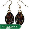 Glass Black Twisted Leaf Earrings