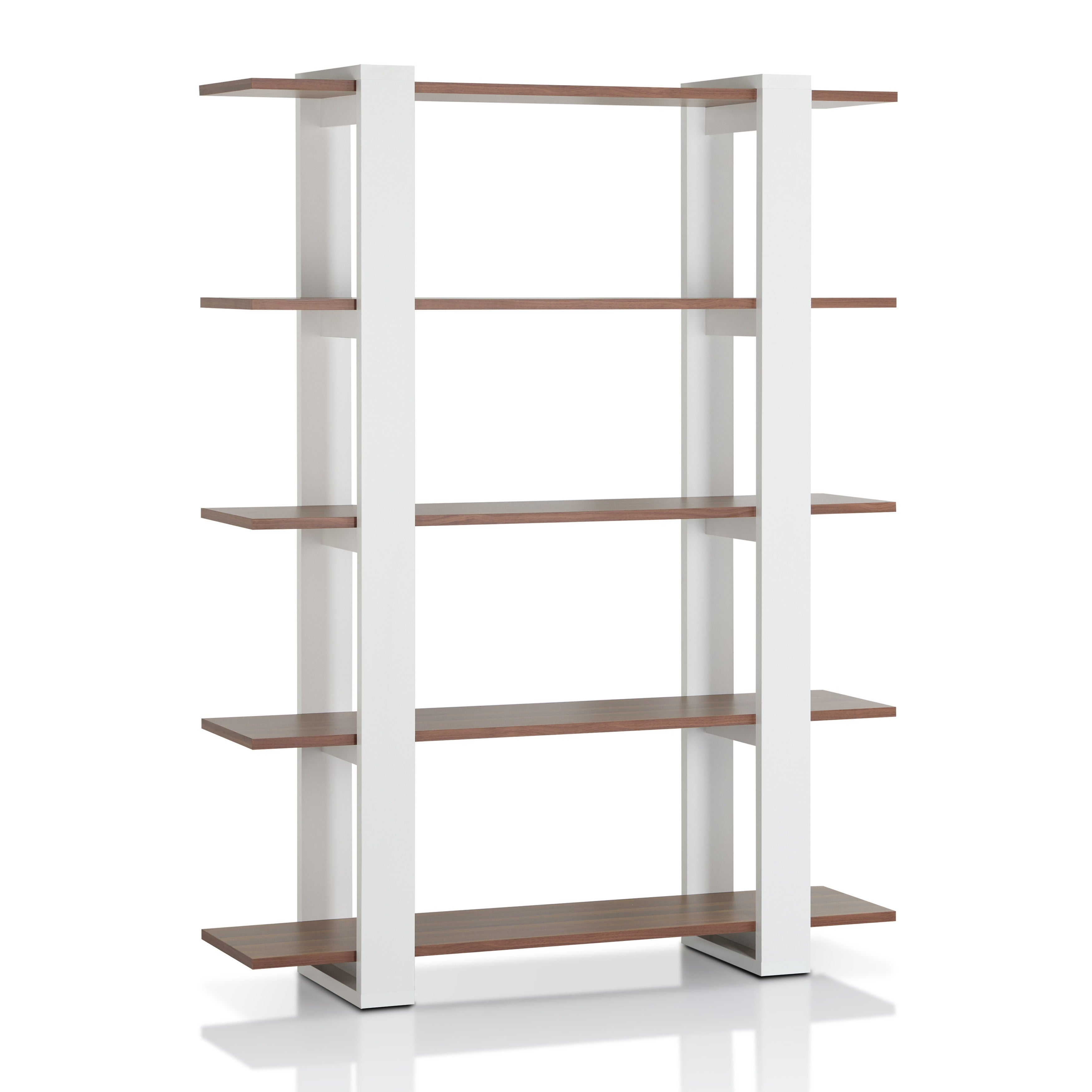Exceptional Furniture Of America Haven 5 Tier Walnut/White Wood Display Bookshelf    Free Shipping Today   Overstock.com   13133305