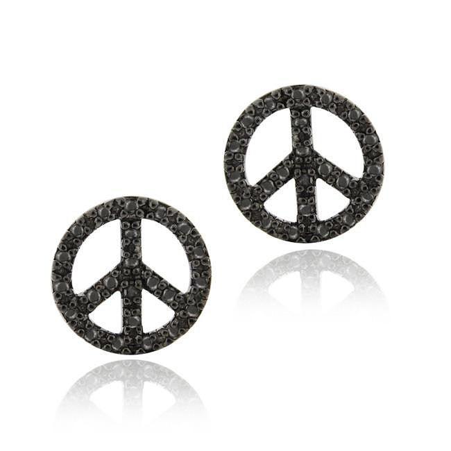 Shop Db Designs Sterling Silver Black Diamond Accent Peace Sign