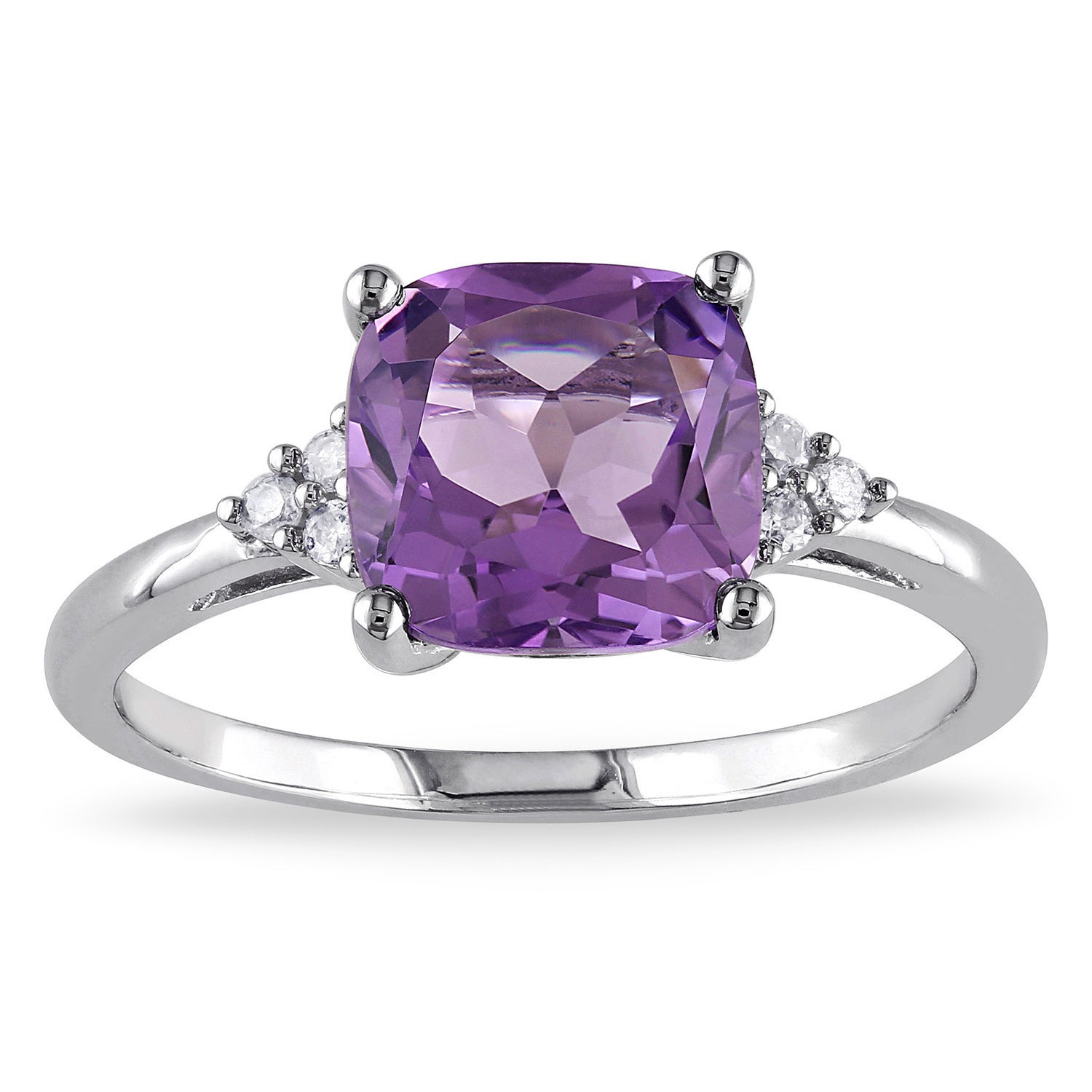 Shop Miadora 10k White Gold Amethyst and Diamond Ring - On Sale - Free  Shipping Today - Overstock.com - 5333317