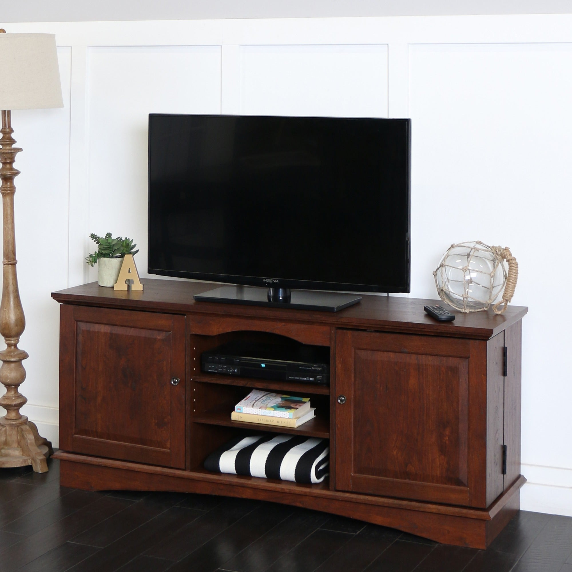 Shop 57 Tv Stand Console Traditional Brown 57 X 16 X 25h On