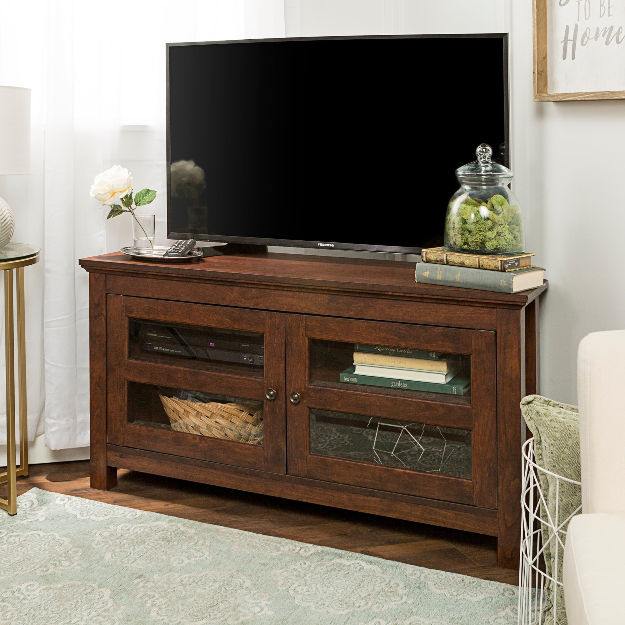 shop clay alder home sturgeon 44 inch brown wood corner tv stand free shipping today overstockcom 20602751 - Wood Corner Tv Stand