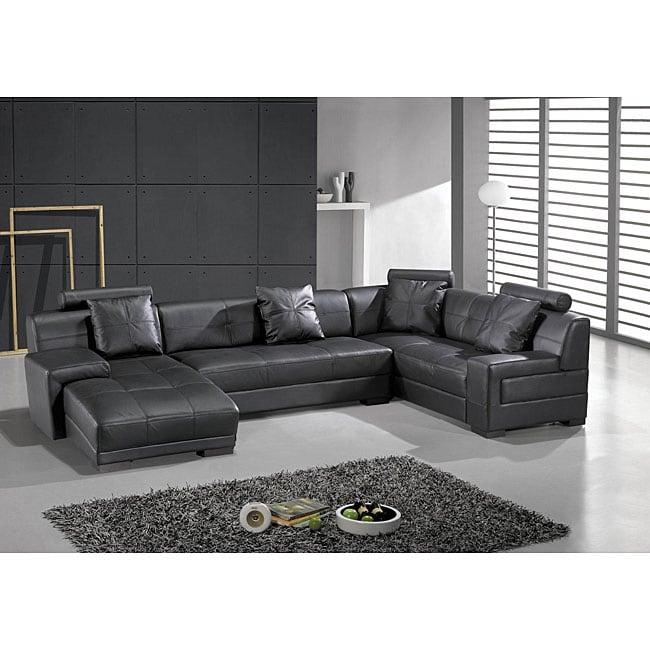 Houston Black Leather 3-piece Sectional Set