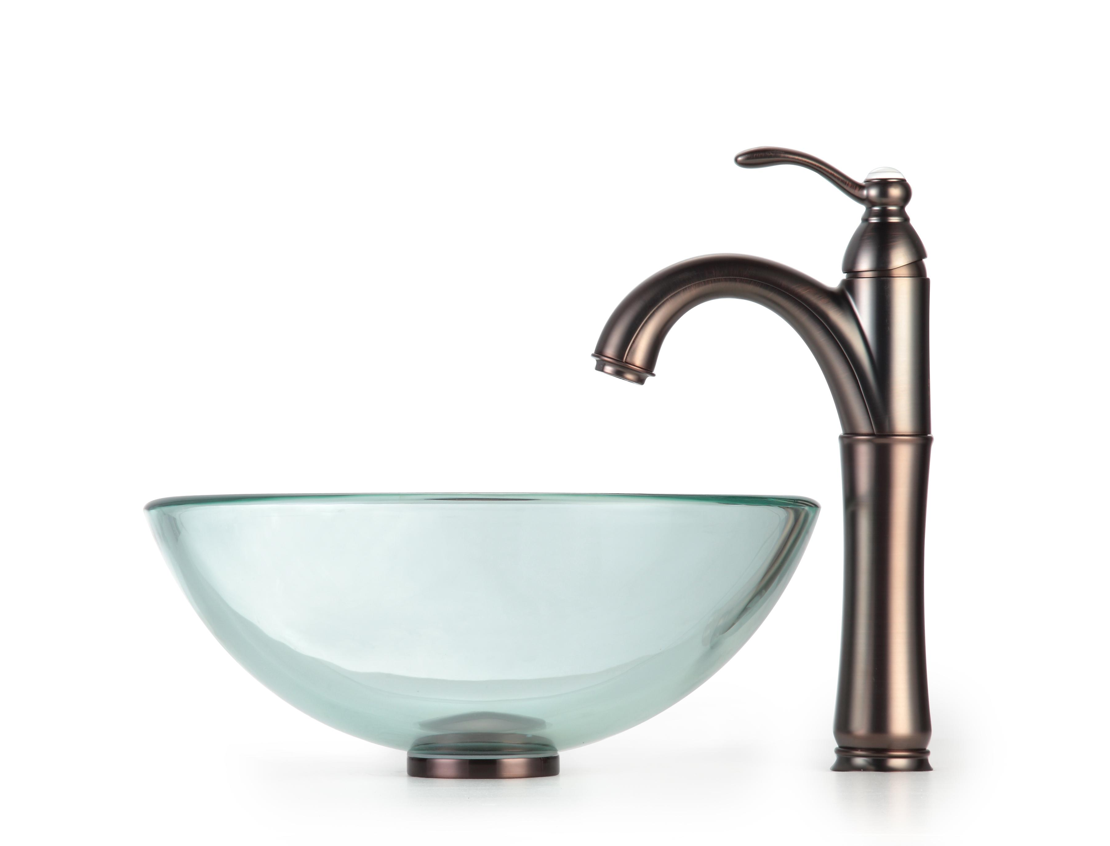 Shop KRAUS Glass Vessel Sink with Single Hole Single-Handle Riviera ...