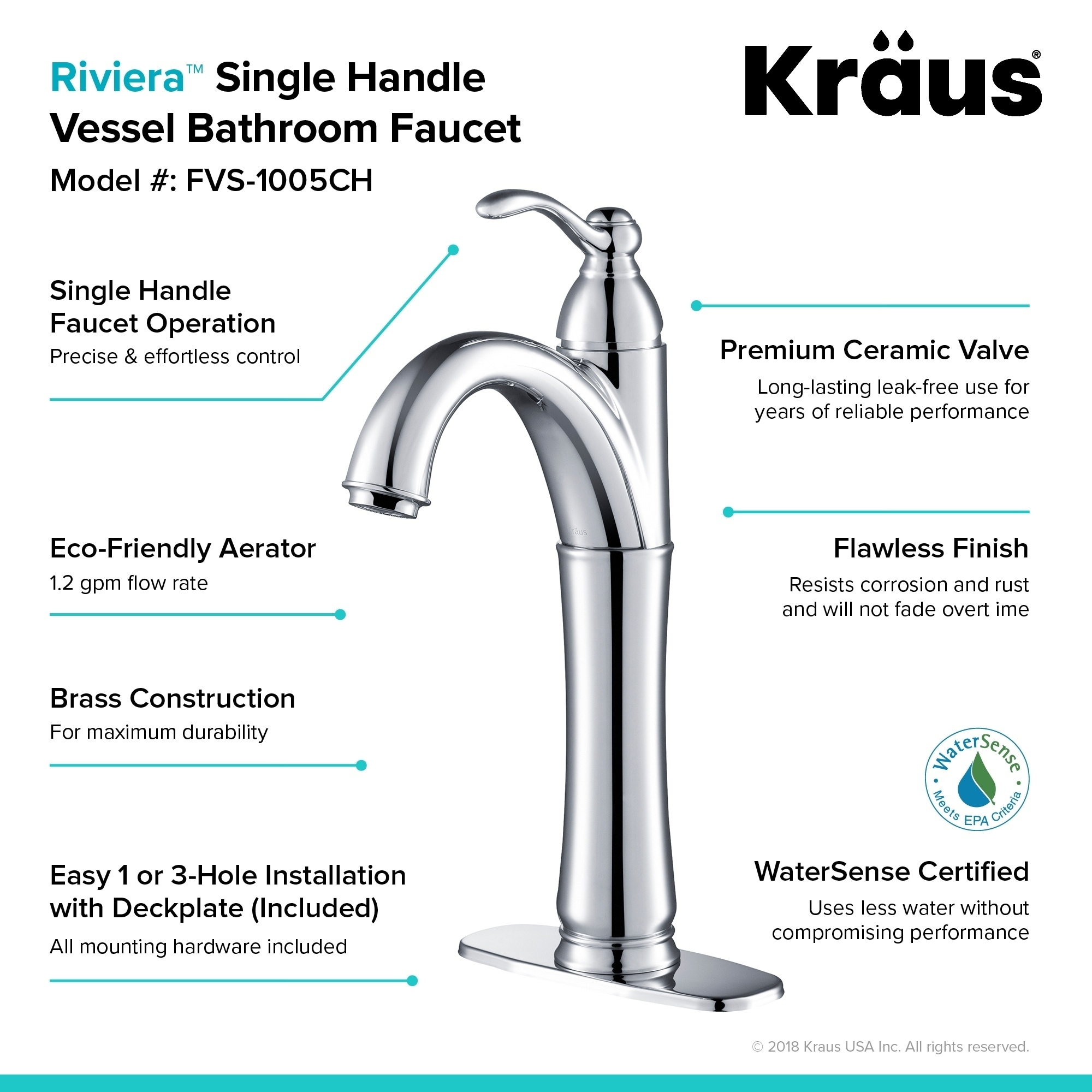 Shop Kraus FVS-1005 Riviera Single Hole Single-Handle Bathroom ...