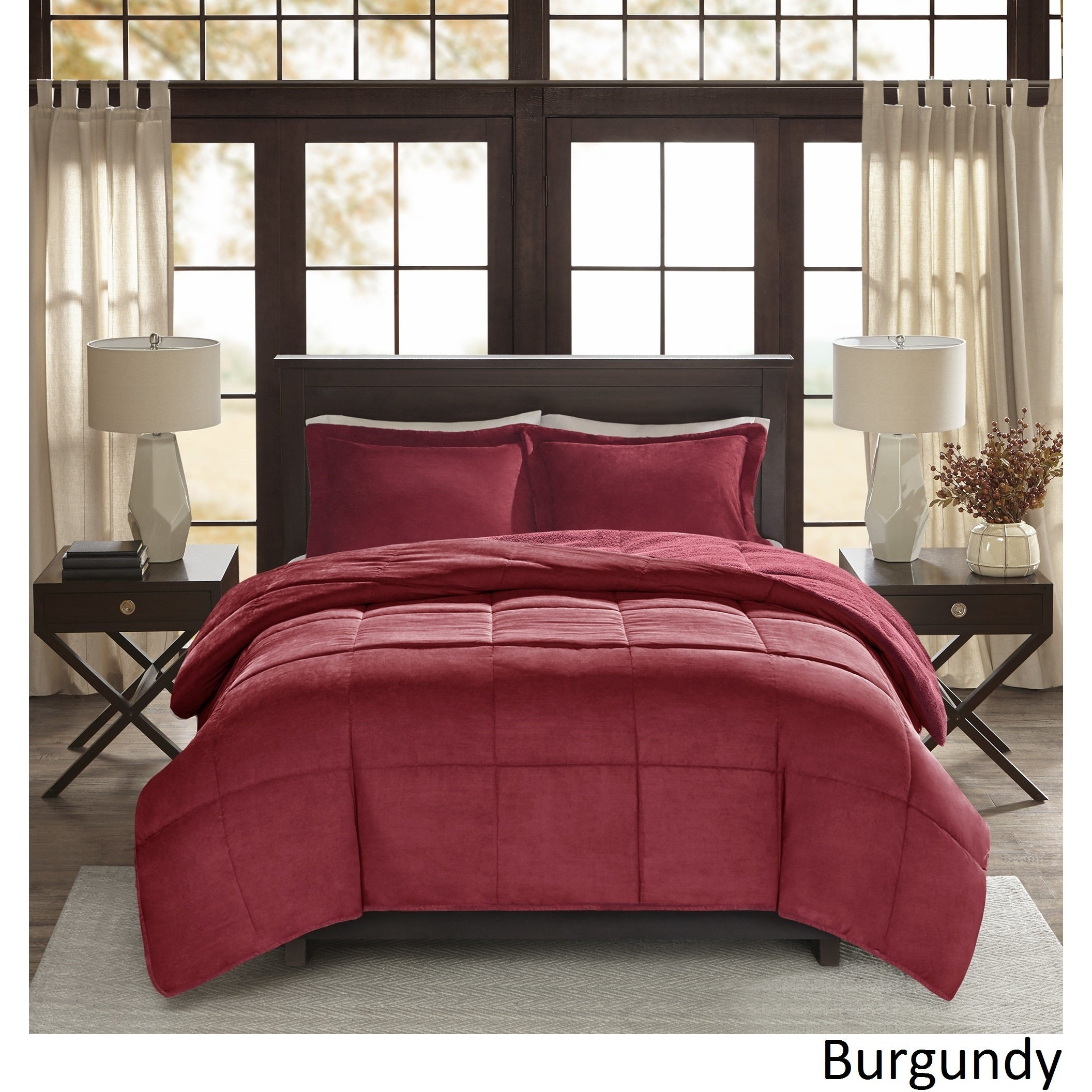 and sherpa ip pleated ruffled pinch burgundy pin comforter twin piece tuck lined chiara x home long set com walmart chic