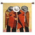 Quena Flute Players Artisan Handmade Home Decor Red Yellow Gold Brown Gray Black White Wall Hanging Art Wool Tapestry (Peru)