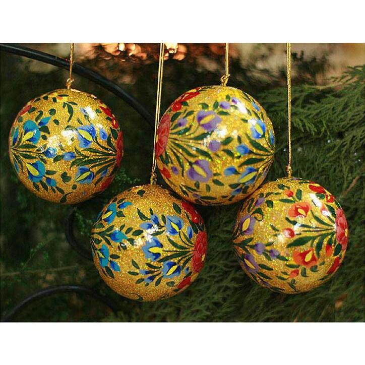 Handmade Set Of 4 Sunlight Joy Holiday Ornaments India