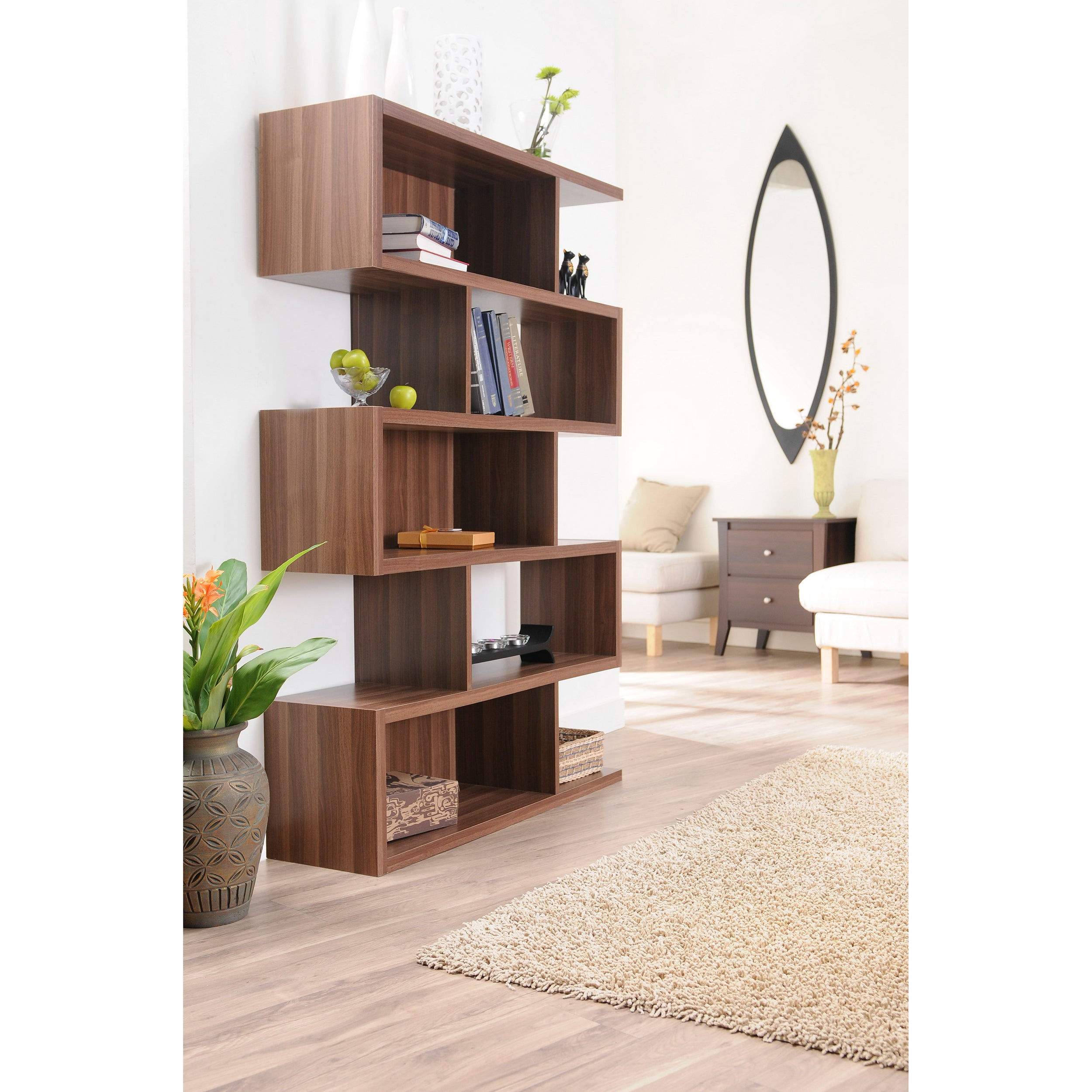 Shop Furniture of America Karrise Walnut Display Shelf/ Bookcase/ Room Divider - Free Shipping Today - Overstock.com - 5483409
