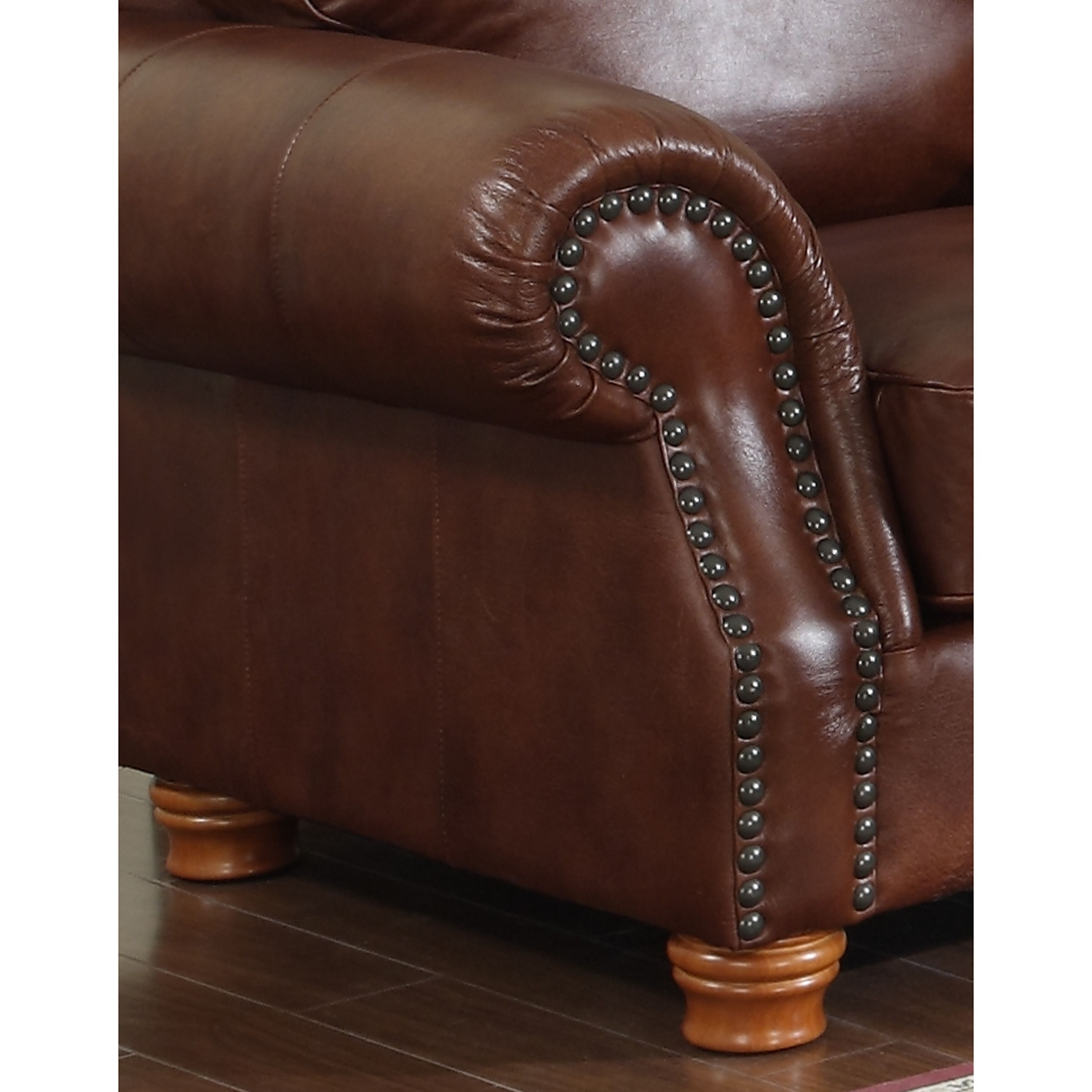 Brandon Distressed Whiskey Italian Leather Sofa Loveseat and