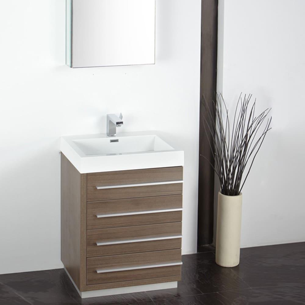 Shop Fresca Livello 24-inch Grey Oak Bathroom Vanity with Medicine ...