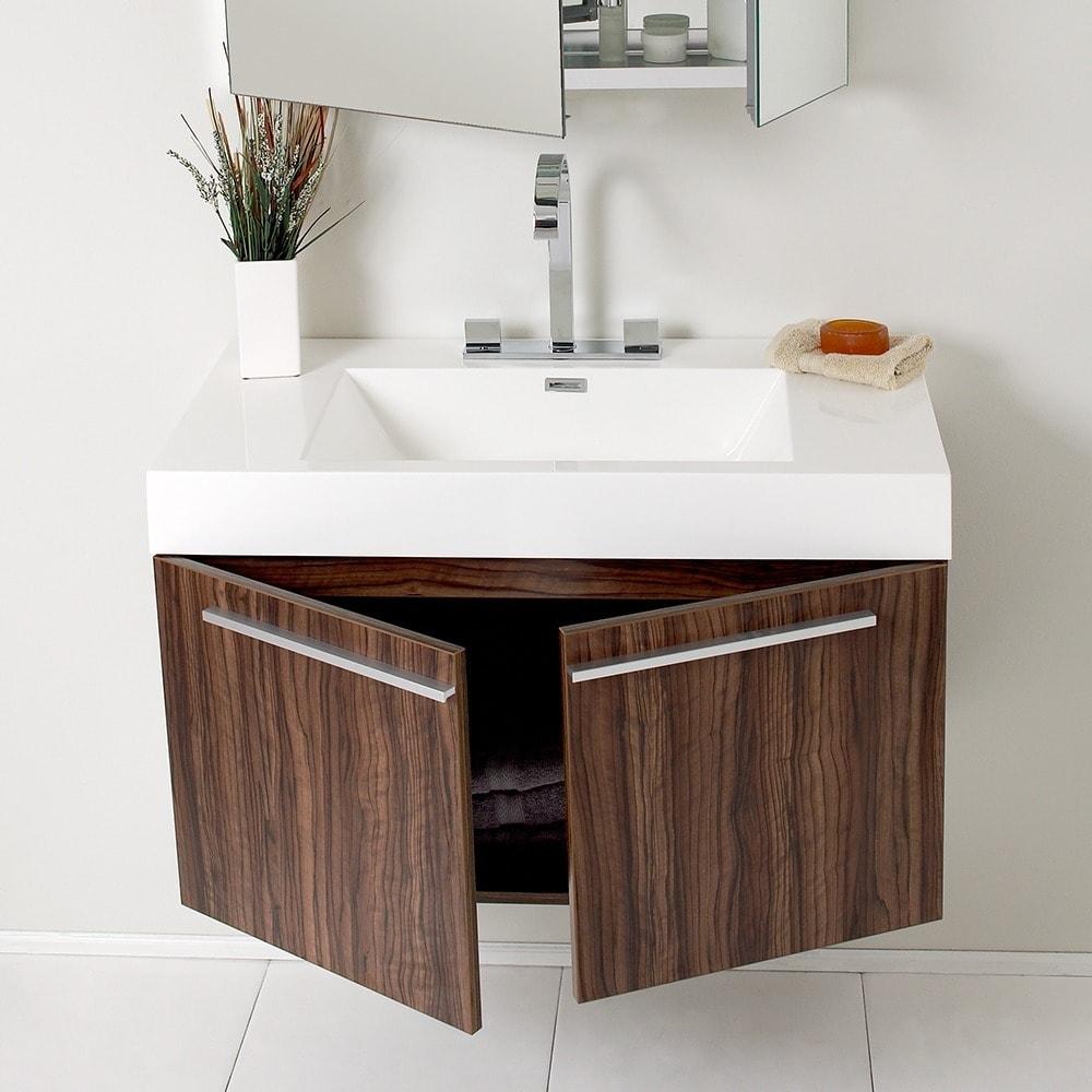Superbe Shop Fresca Vista Walnut Bathroom Vanity And Medicine Cabinet   Free  Shipping Today   Overstock.com   5522835