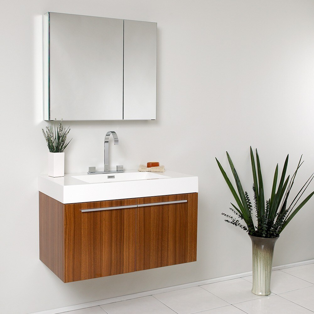 Attirant Fresca Vista Teak Bathroom Vanity And Medicine Cabinet