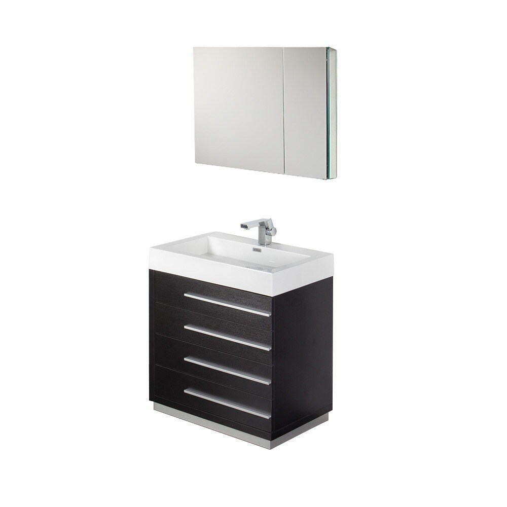 Shop fresca livello 30 inch black bathroom vanity and medicine cabinet free shipping today overstock com 5522837