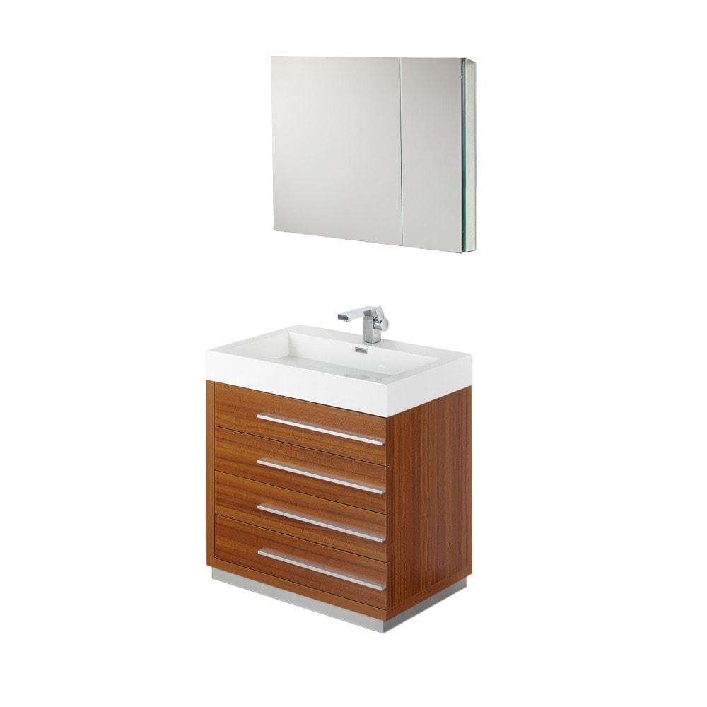 Fresca Livello 30-inch Teak Bathroom Vanity and Medicine Cabinet