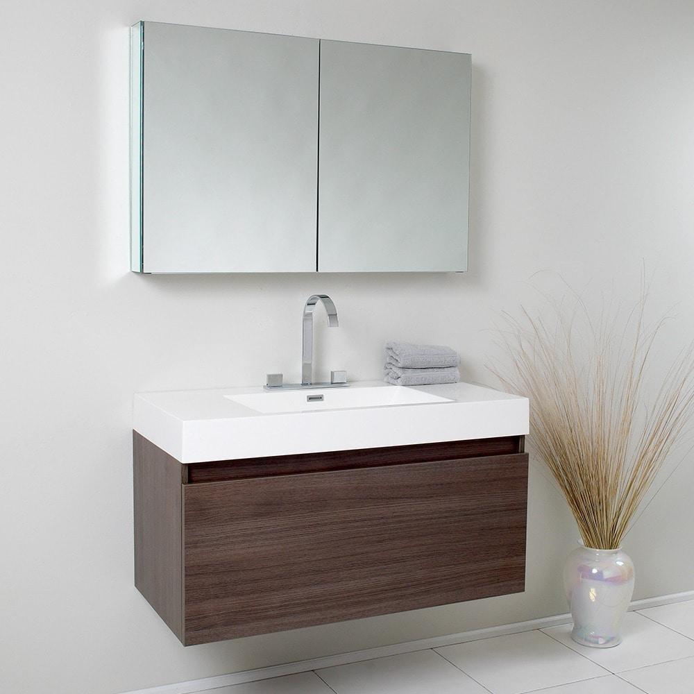Shop Fresca Mezzo Gray Oak Bathroom Vanity with Medicine Cabinet ...