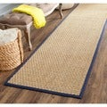 Safavieh Casual Natural Fiber Natural and Blue Border Seagrass Runner (2'6 x 6')
