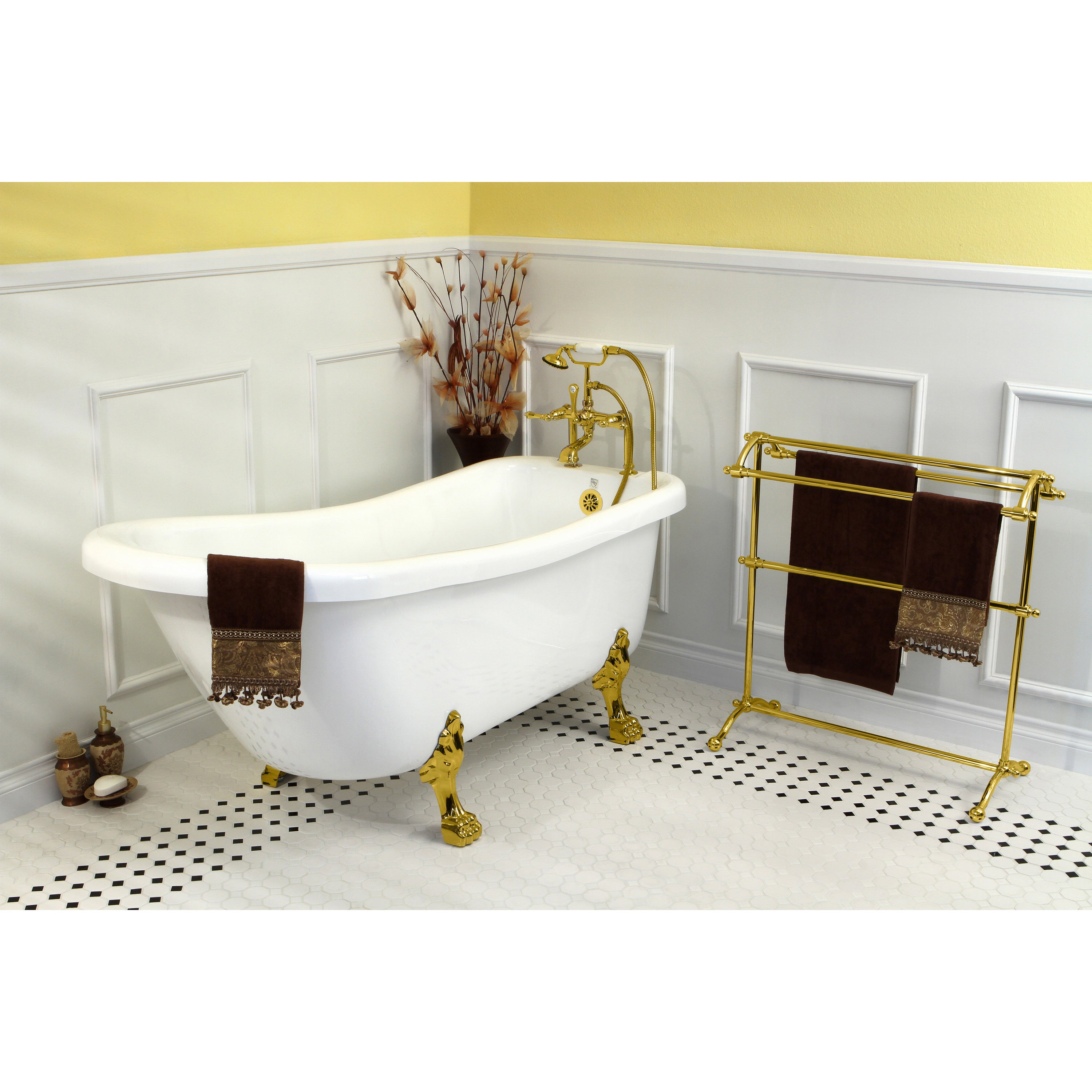 Shop Vintage Collection 67-inch White Acrylic Clawfoot Slipper Tub ...