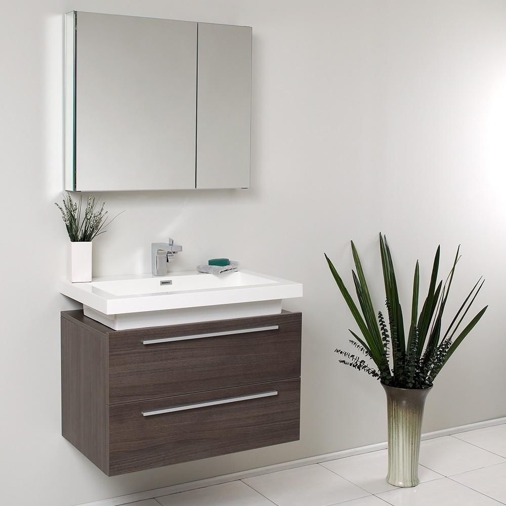 Shop Fresca Medio Grey Oak Bathroom Vanity with Medicine Cabinet ...