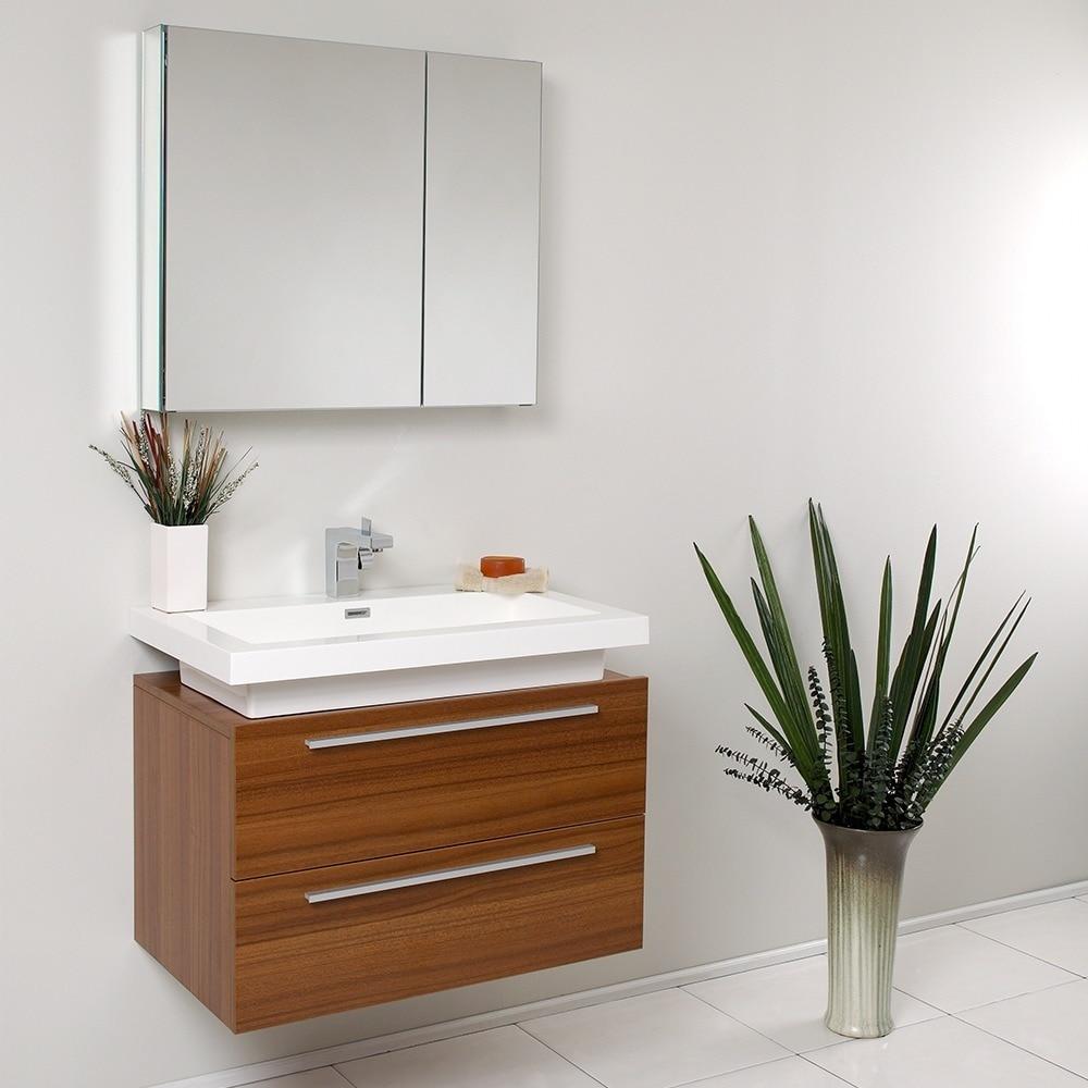Shop Fresca Medio Teak Bathroom Vanity with Medicine Cabinet - Brown - Ships To Canada - Overstock.ca - 5525090
