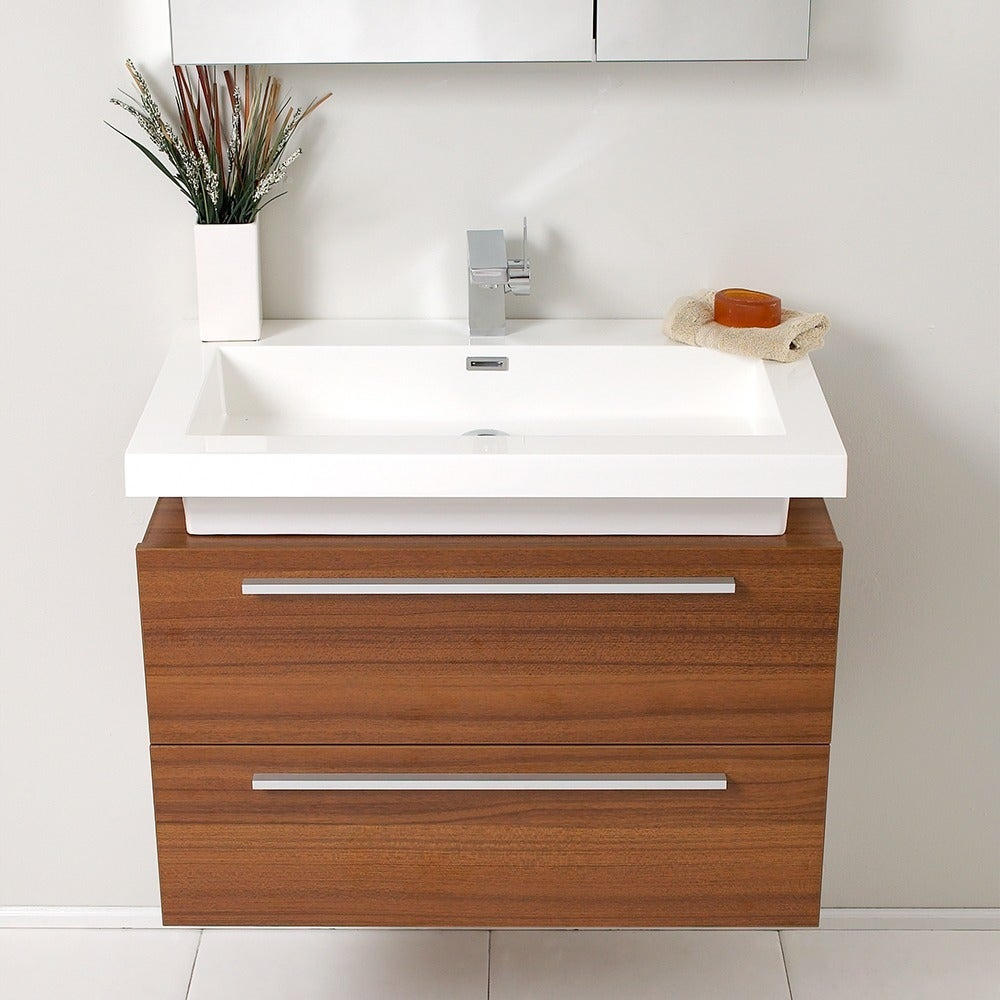 Shop Fresca Medio Teak Bathroom Vanity With Medicine Cabinet   Brown   Free  Shipping Today   Overstock.com   5525090