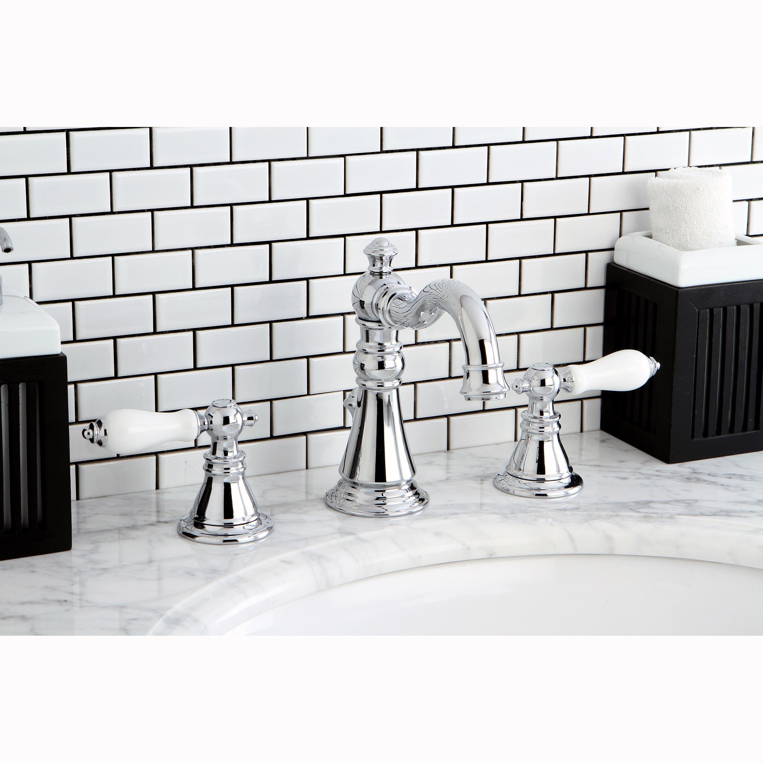 Shop Kingston Brass American Patriot Chrone Brass Widespread - Refinish chrome bathroom fixtures