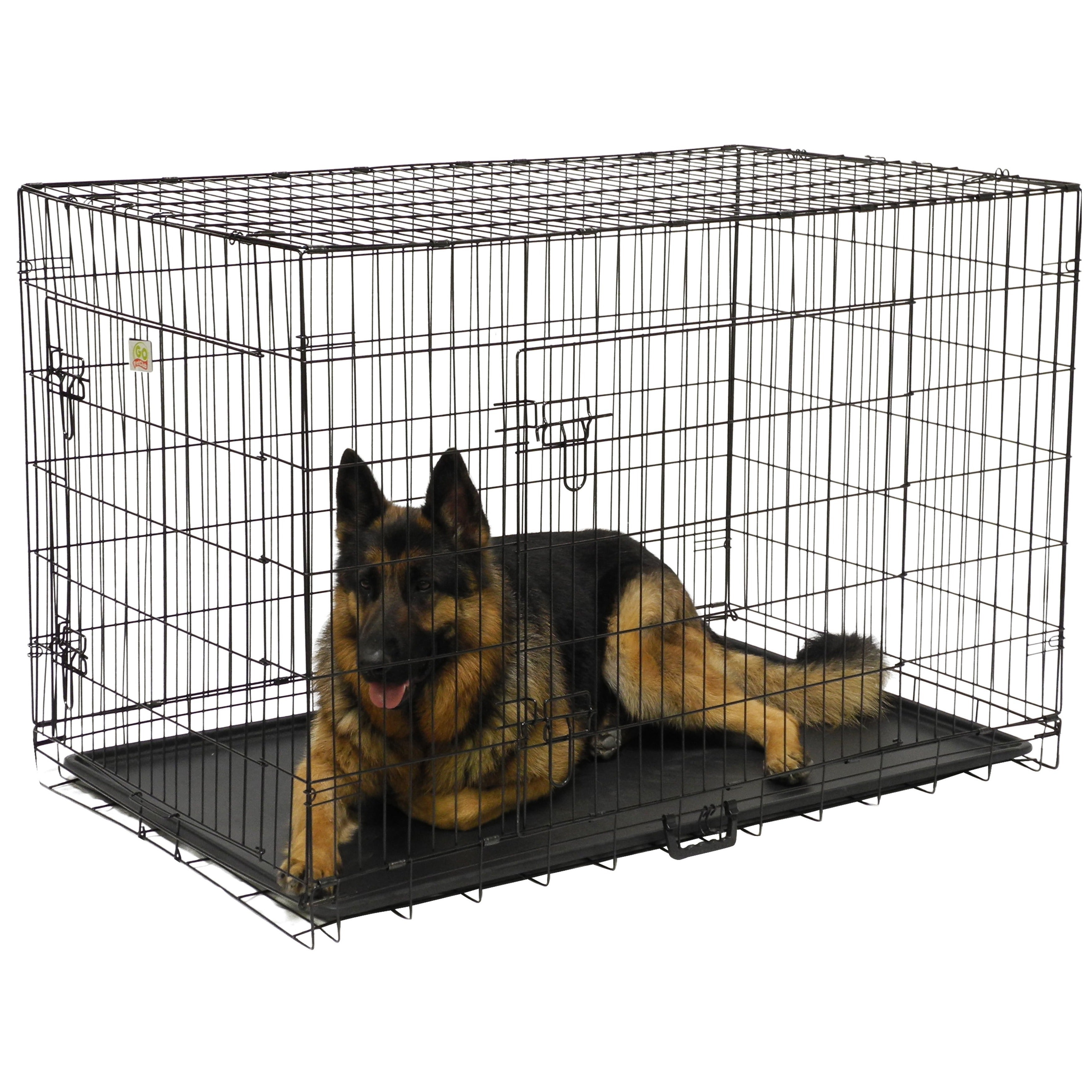 GoPetClub 42 Inch 2 Door Metal Folding Dog Crate W/ Divider   Free Shipping  Today   Overstock.com   13313231