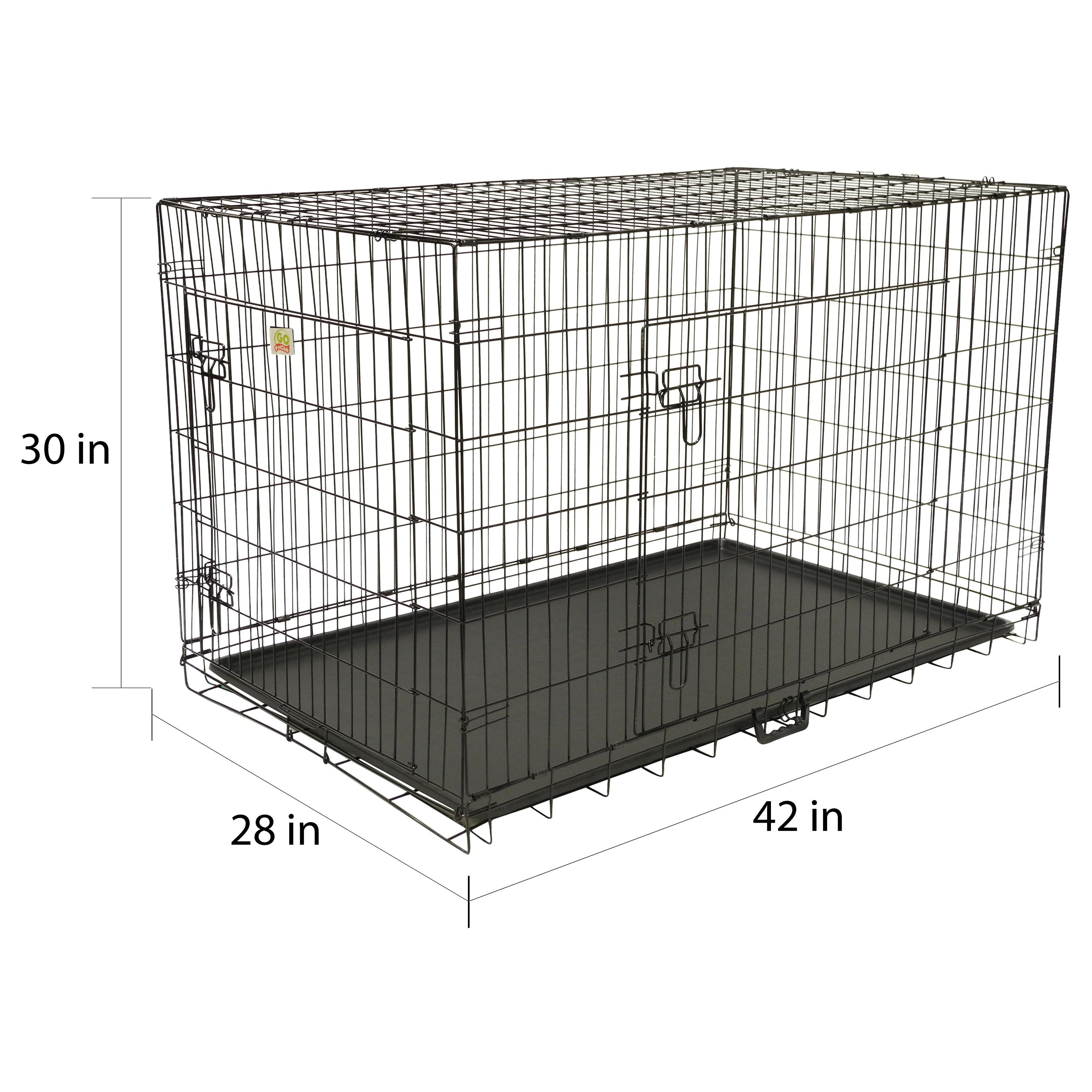 Shop GoPetClub Black Metal 42-inch 2-door Folding Dog Crate w ...
