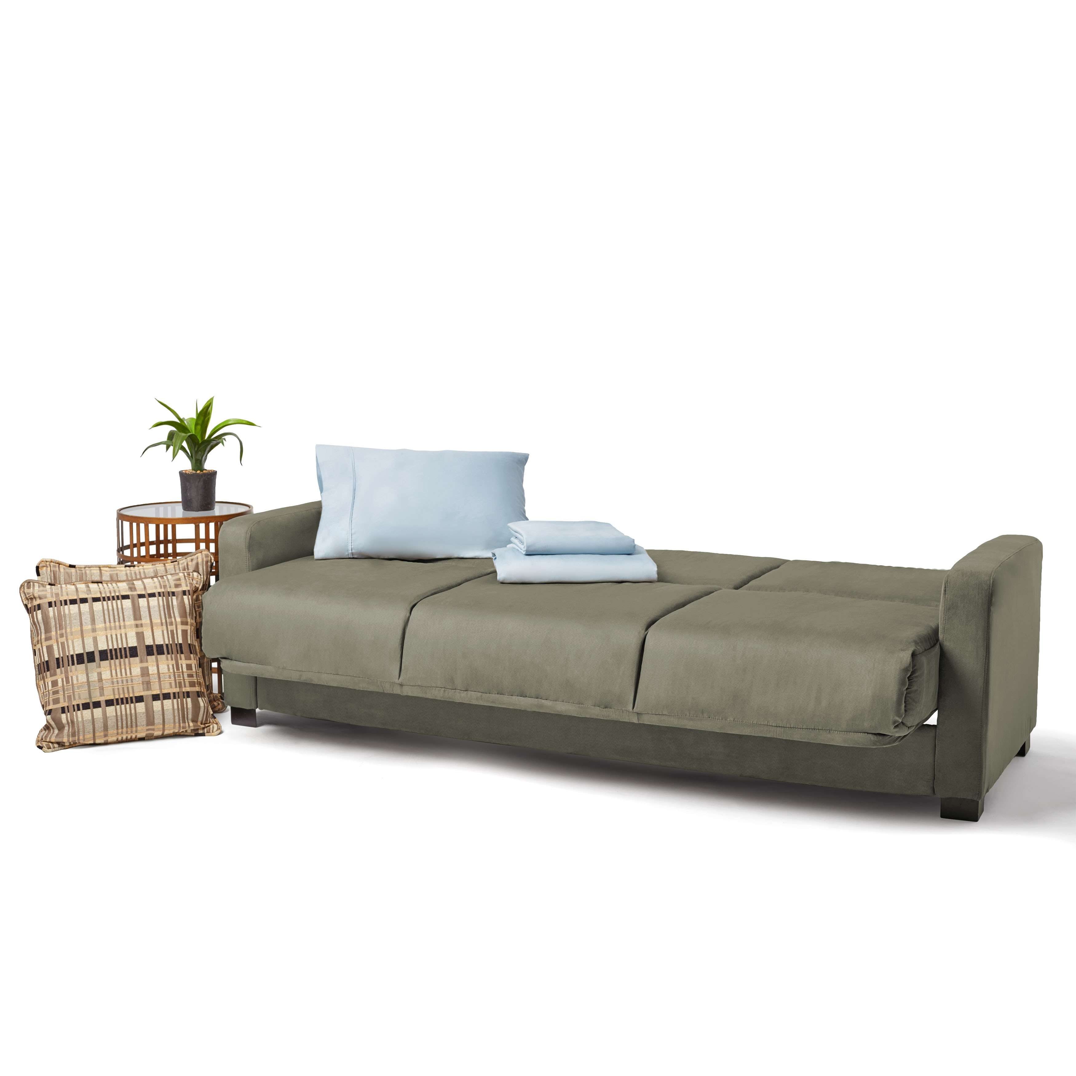 Handy Living Trace Convert A Couch Sage Grey Microfiber Futon Sofa  ~ Convert A Couch And Sofa Bed