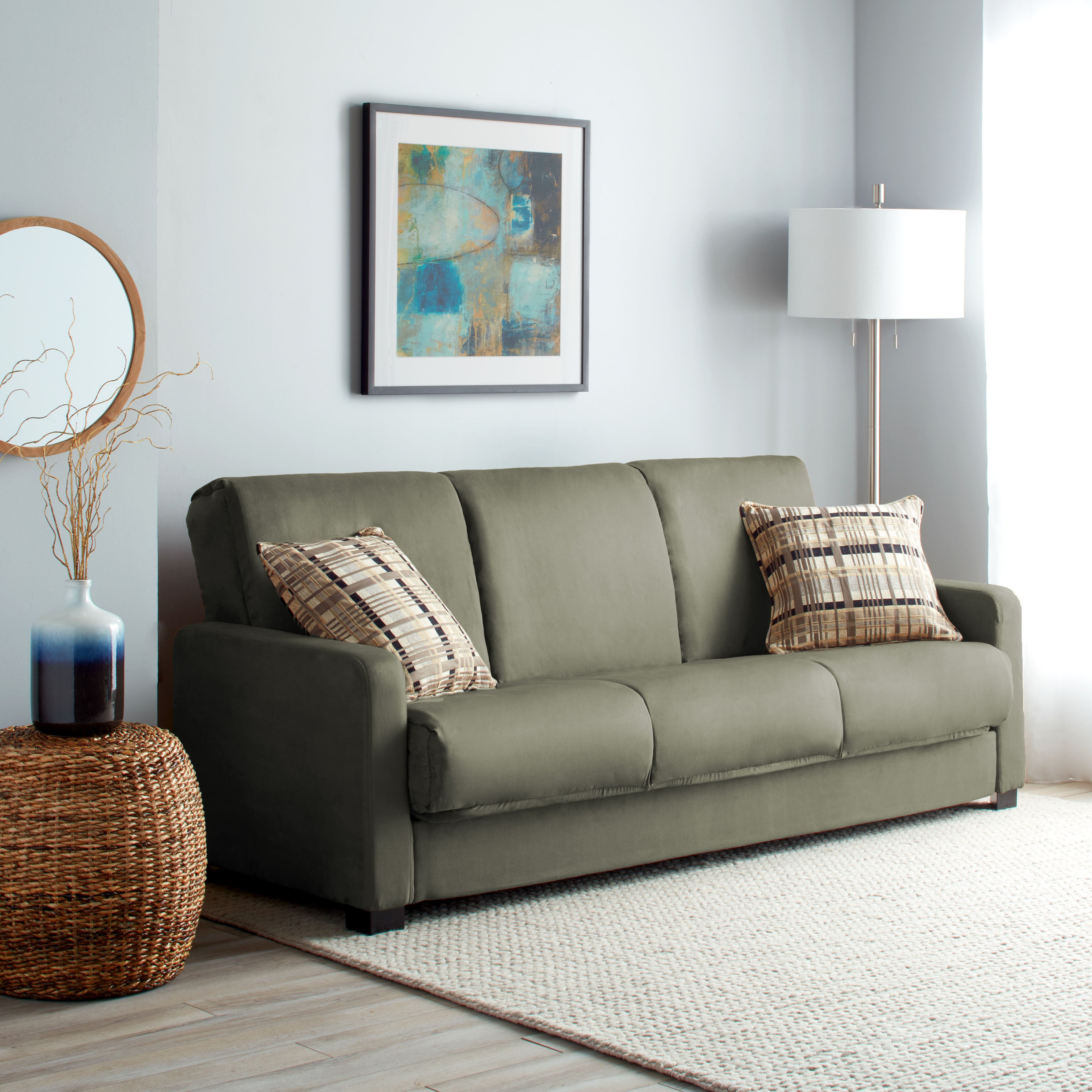 Shop Handy Living Trace Convert A Couch Sage Grey Microfiber Futon Sofa  Sleeper   On Sale   Free Shipping Today   Overstock.com   5542801